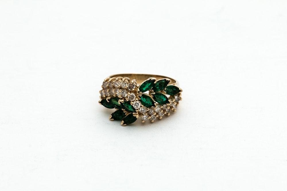 14K Yellow Gold 1.10 CTW Emerald and Diamond Ring
