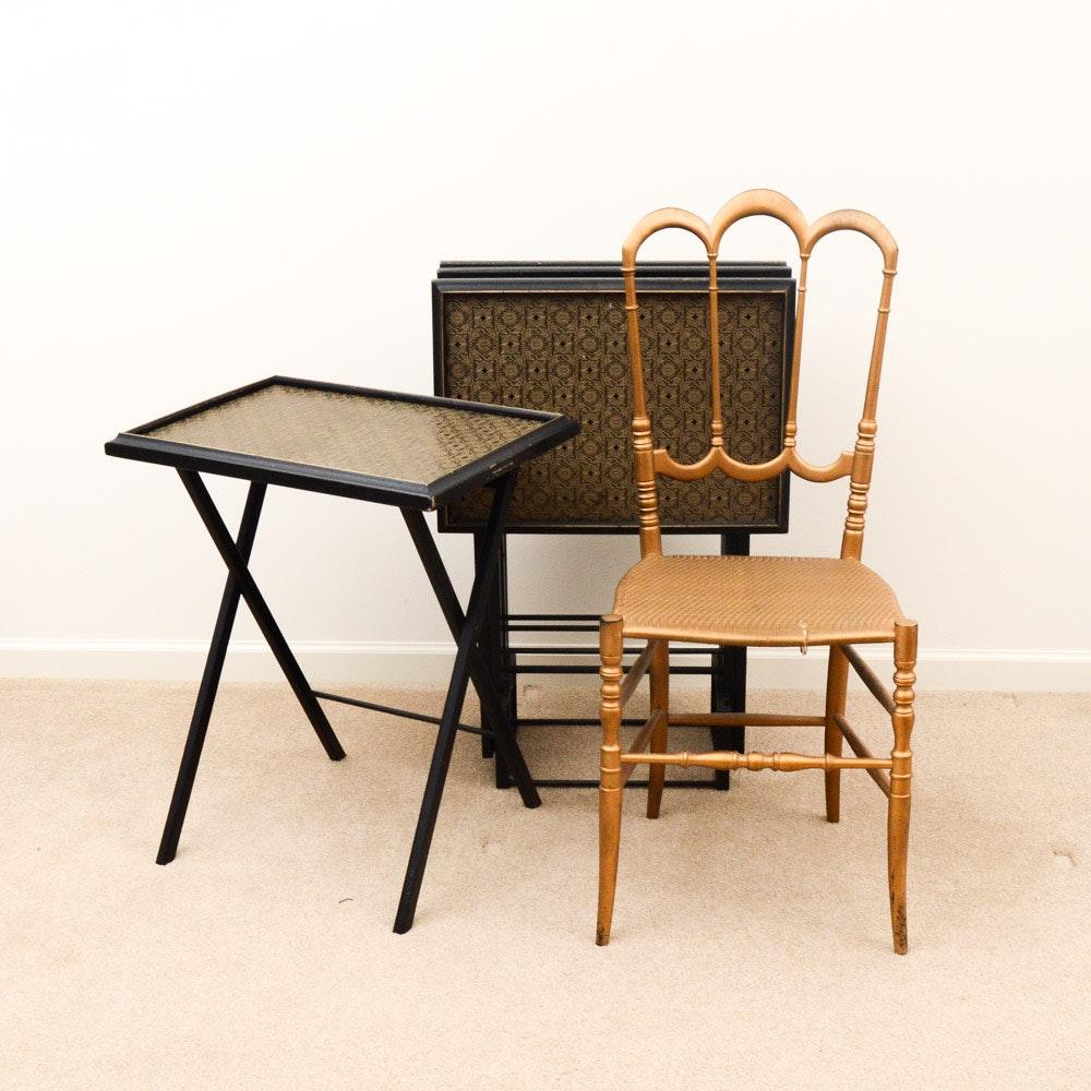 Vintage Mid Century Modern Artex Folding Tray Table Set and Early Chiavari Chair ... & Vintage Mid Century Modern Artex Folding Tray Table Set and Early ...