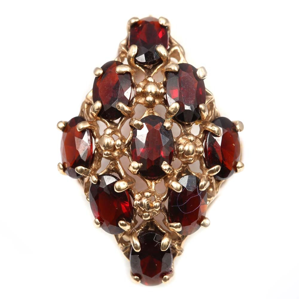 10K Yellow Gold 5.40 CTW Oval Garnet Cluster Ring