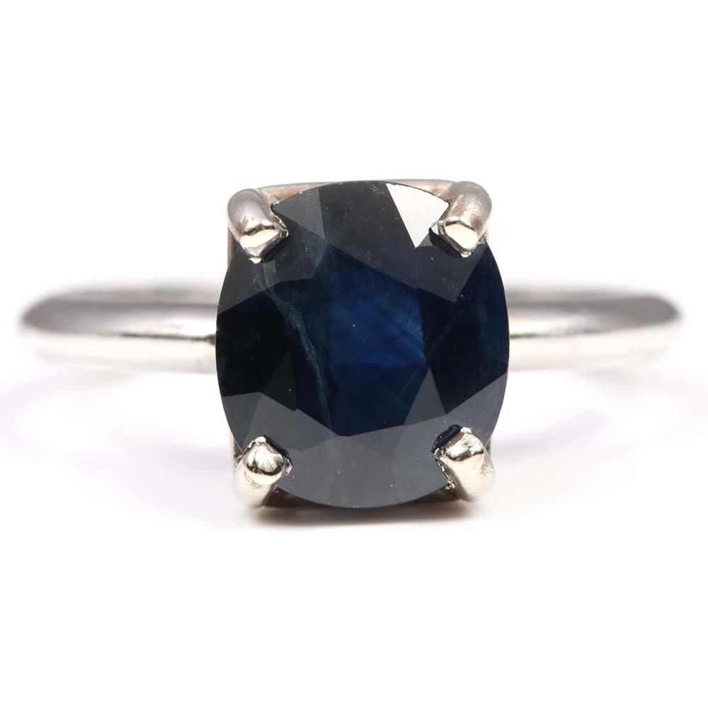 Platinum 4.15 CT Oval Sapphire Ring