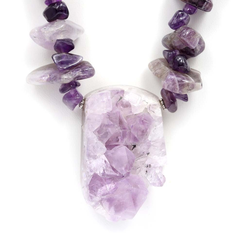 Amethyst Crystal and Bead Necklace
