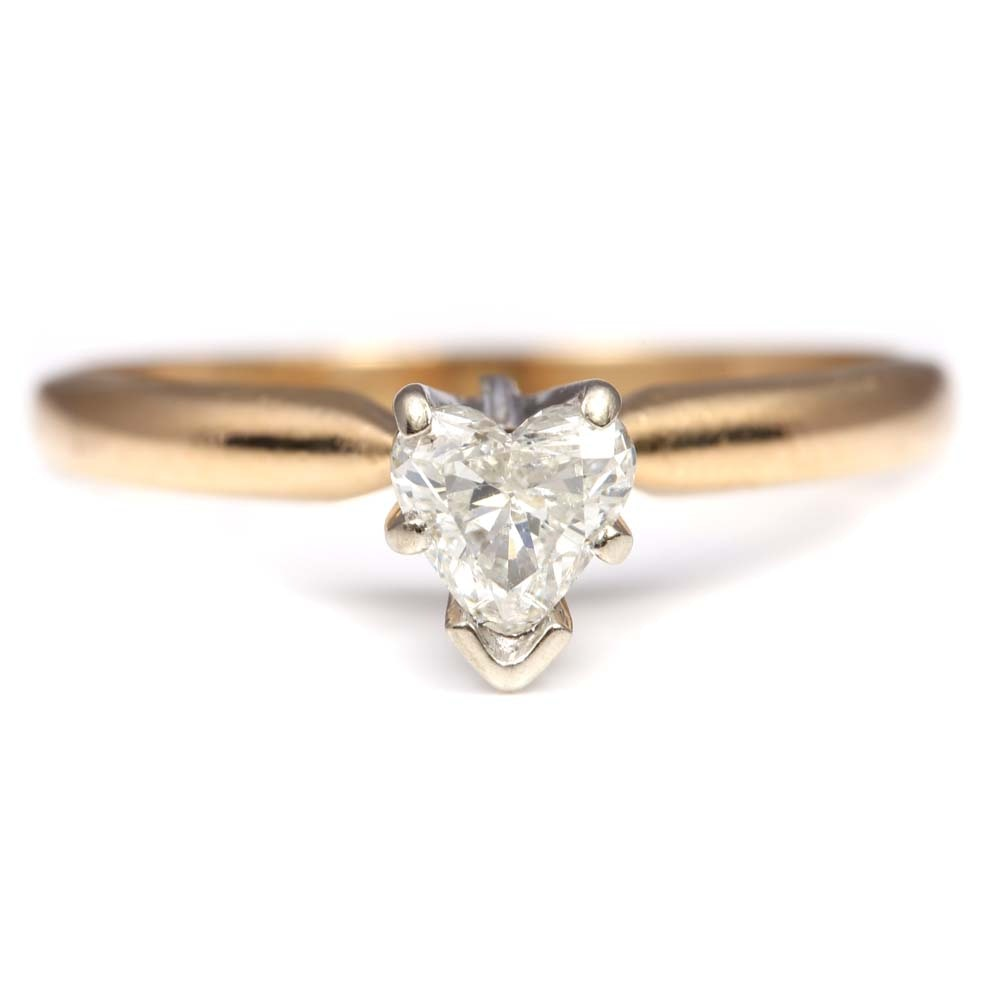 14K Yellow Gold Solitaire Diamond Heart Ring