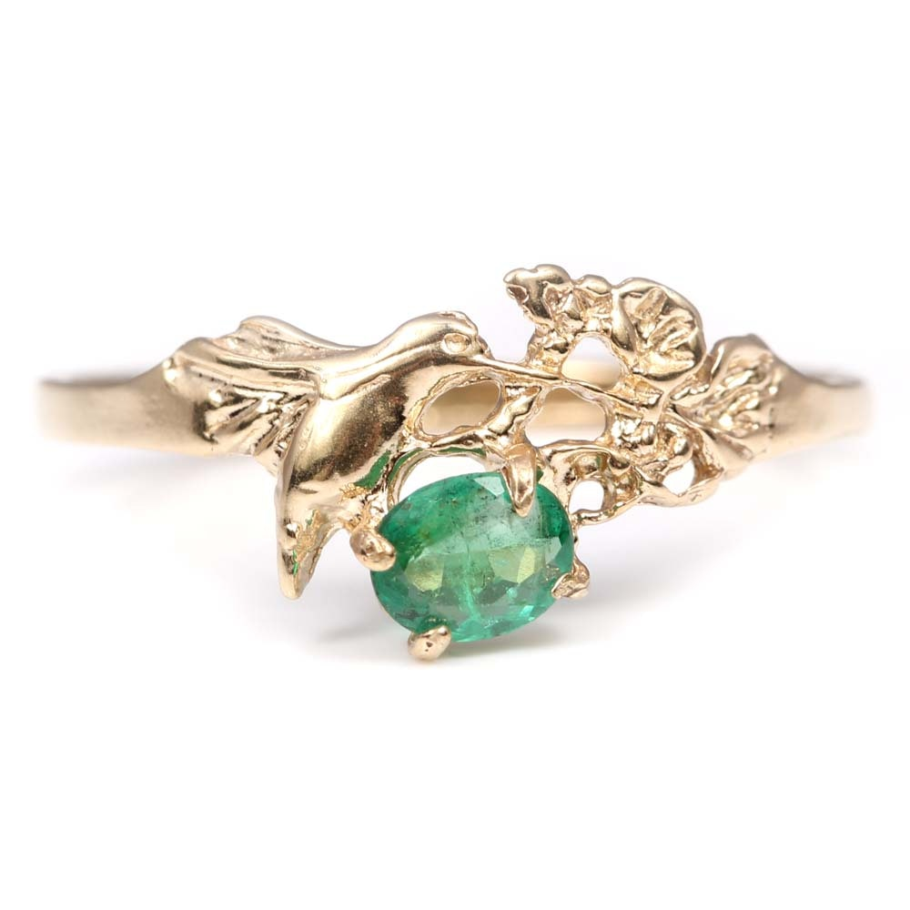 14K Yellow Gold Emerald Hummingbird Ring