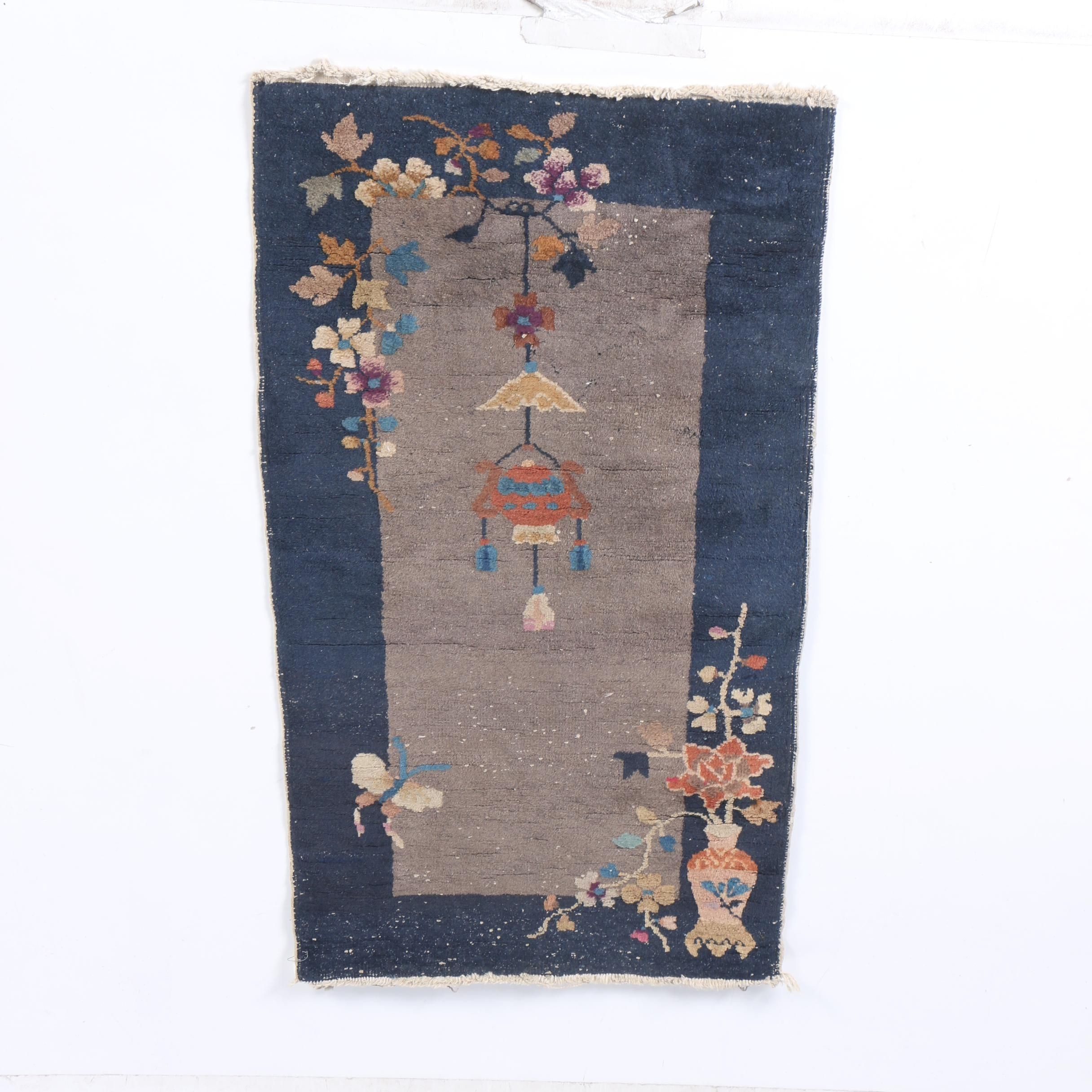 Antique Hand-Knotted Chinese Nichols Accent Rug
