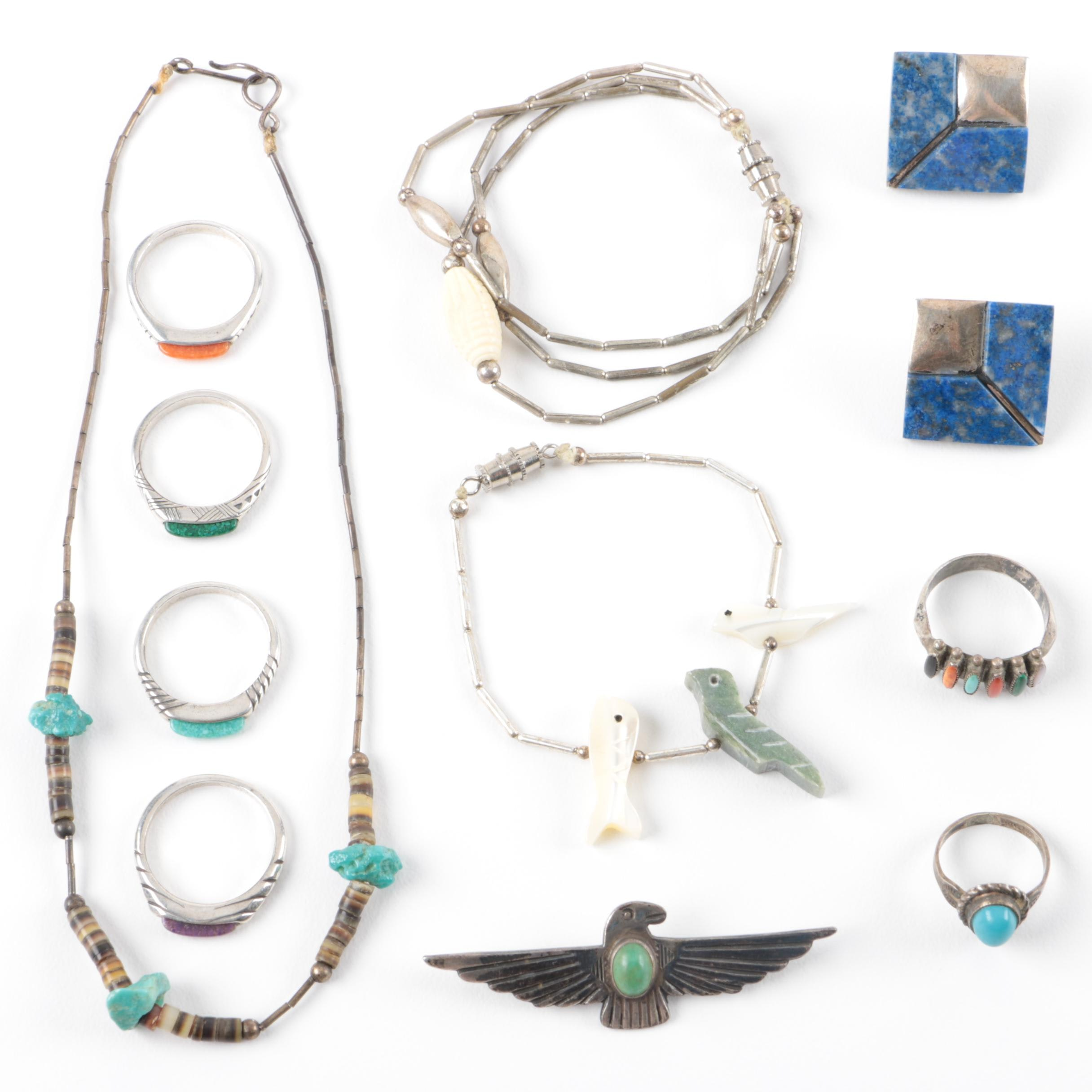 Collection of Jewelry Including Sterling Silver, Lapis, and More
