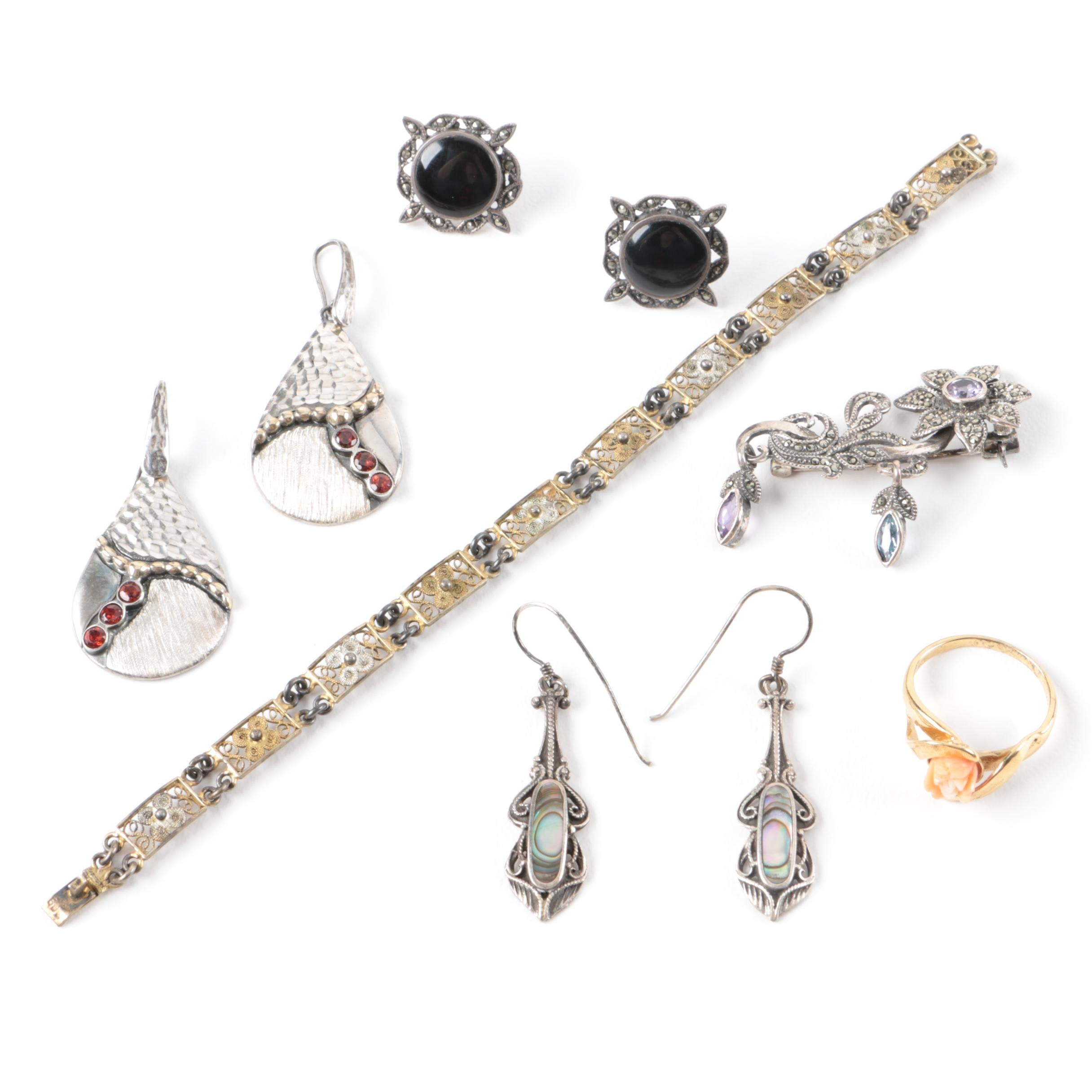 Sterling and 800 Silver Jewelry Featuring Abalone, Coral and Garnet