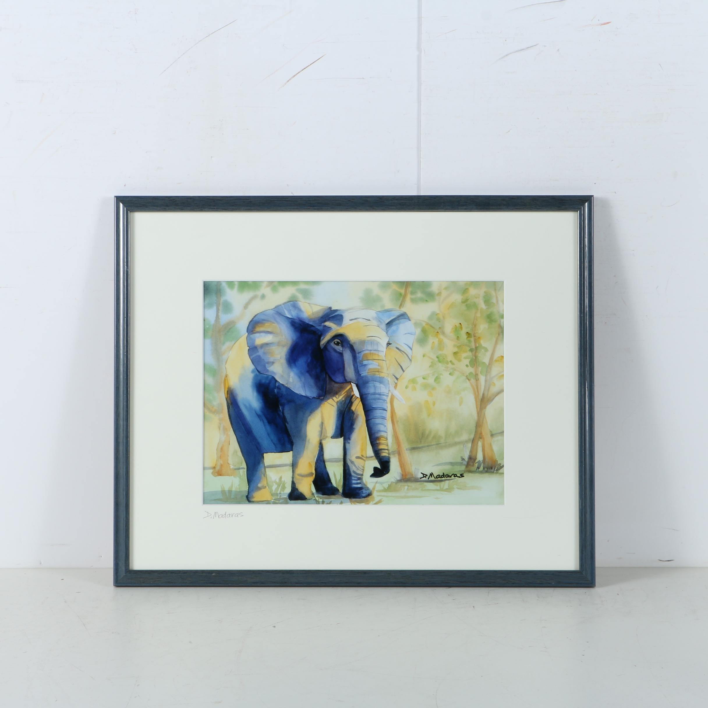 Diana Madaras Giclee Print on Paper of Watercolor Painting of Elephant