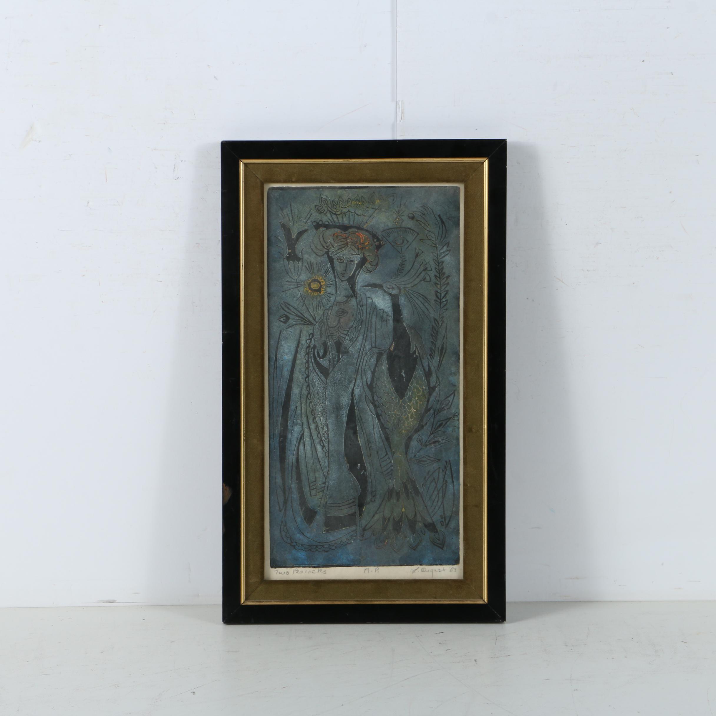 "L. August Artist's Proof Linocut ""Two Peacocks"""