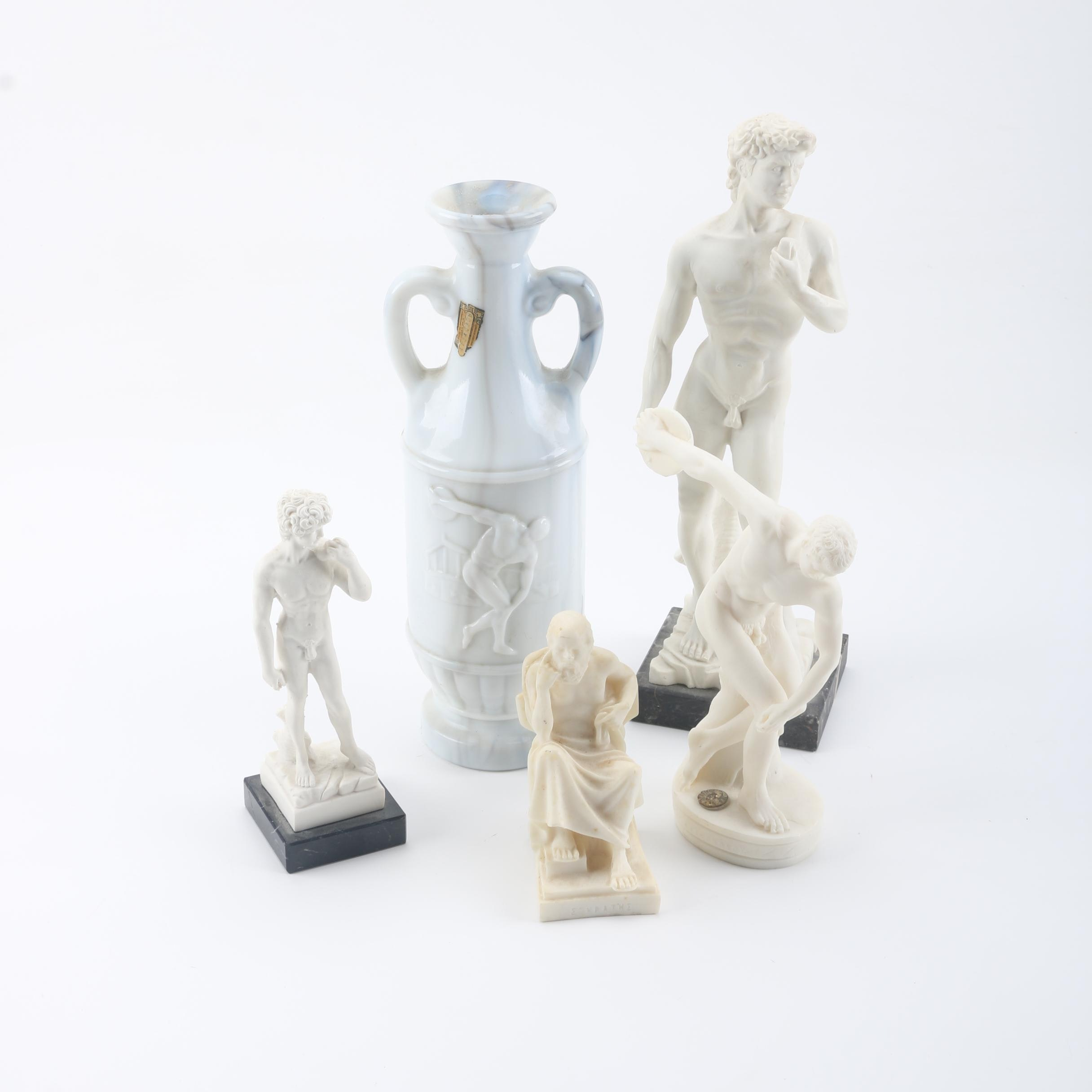 Classic Art Resin Reproduction Sculptures and Decanter