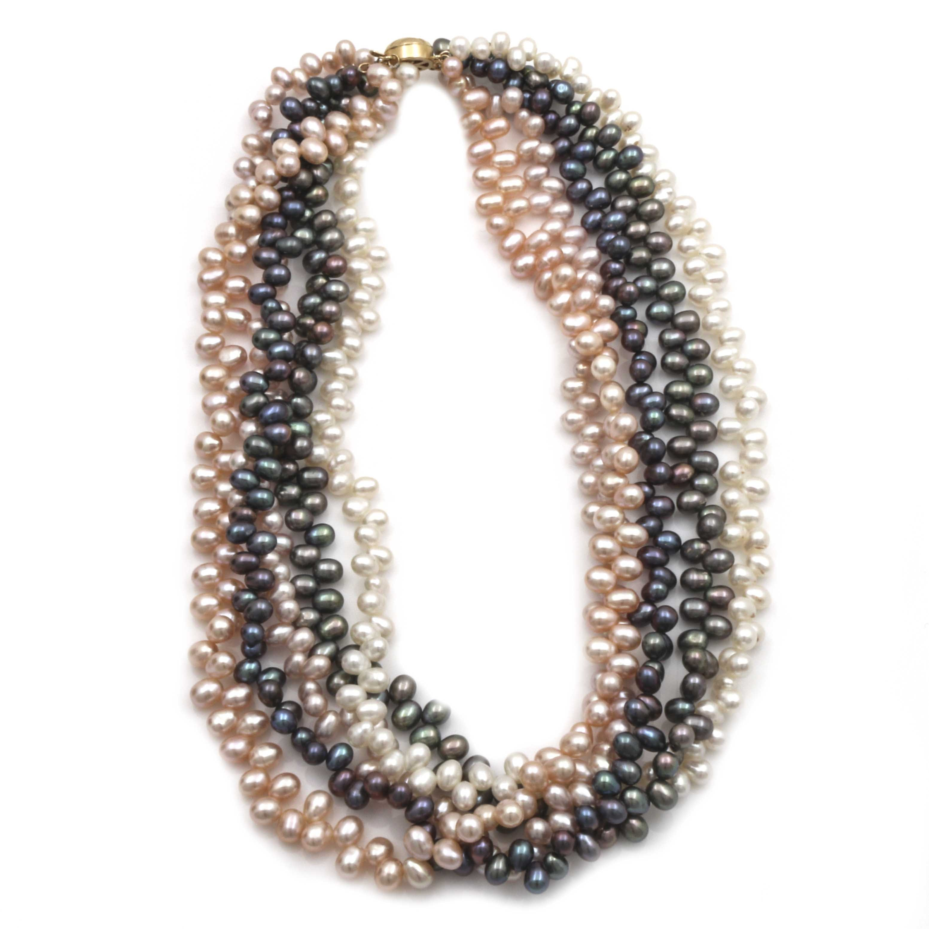 14K Yellow Gold Multicolored Cultured Freshwater Pearl Five Strand Necklace