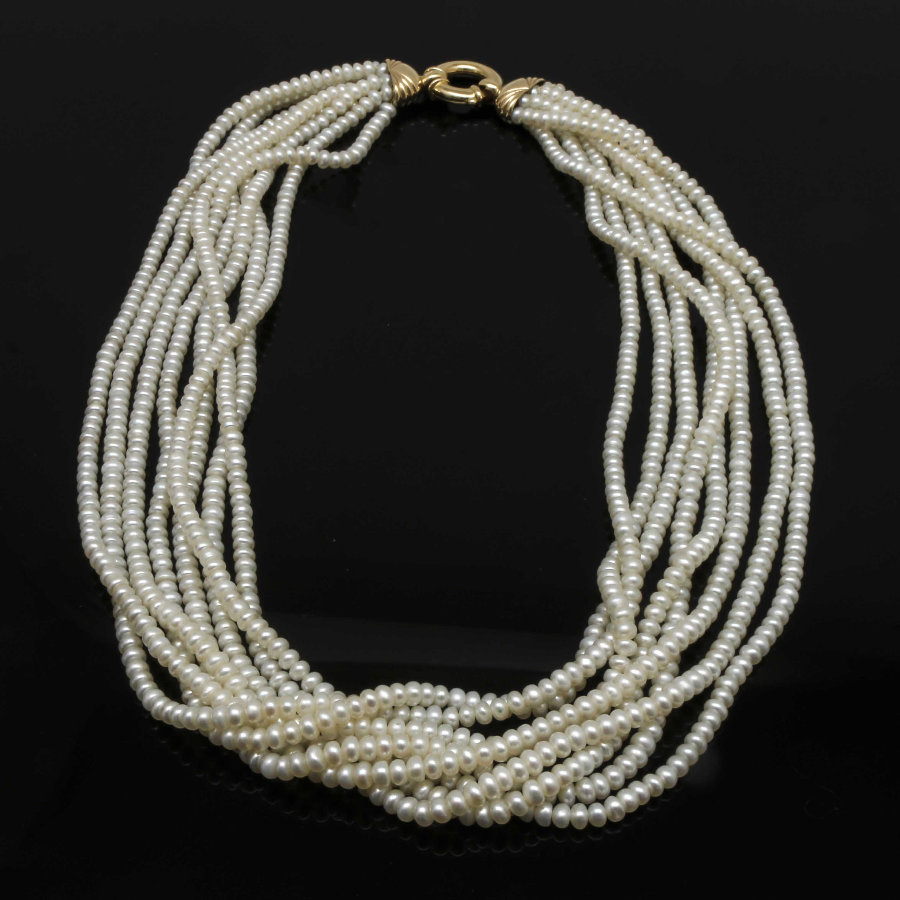 14K Yellow Gold Cultured Freshwater Pearl Multi Strand Necklace