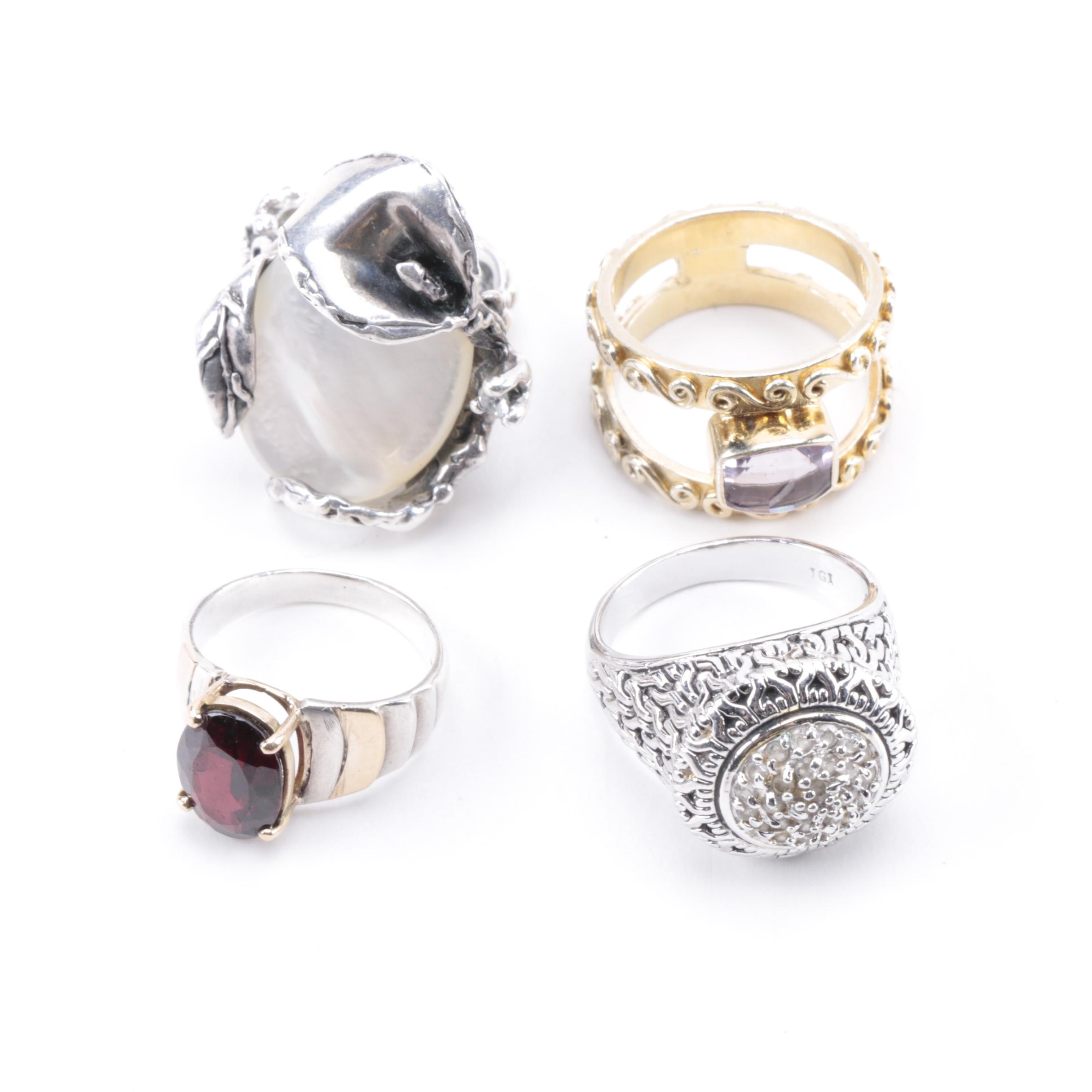 Sterling Silver Rings with Accents Including Sajen