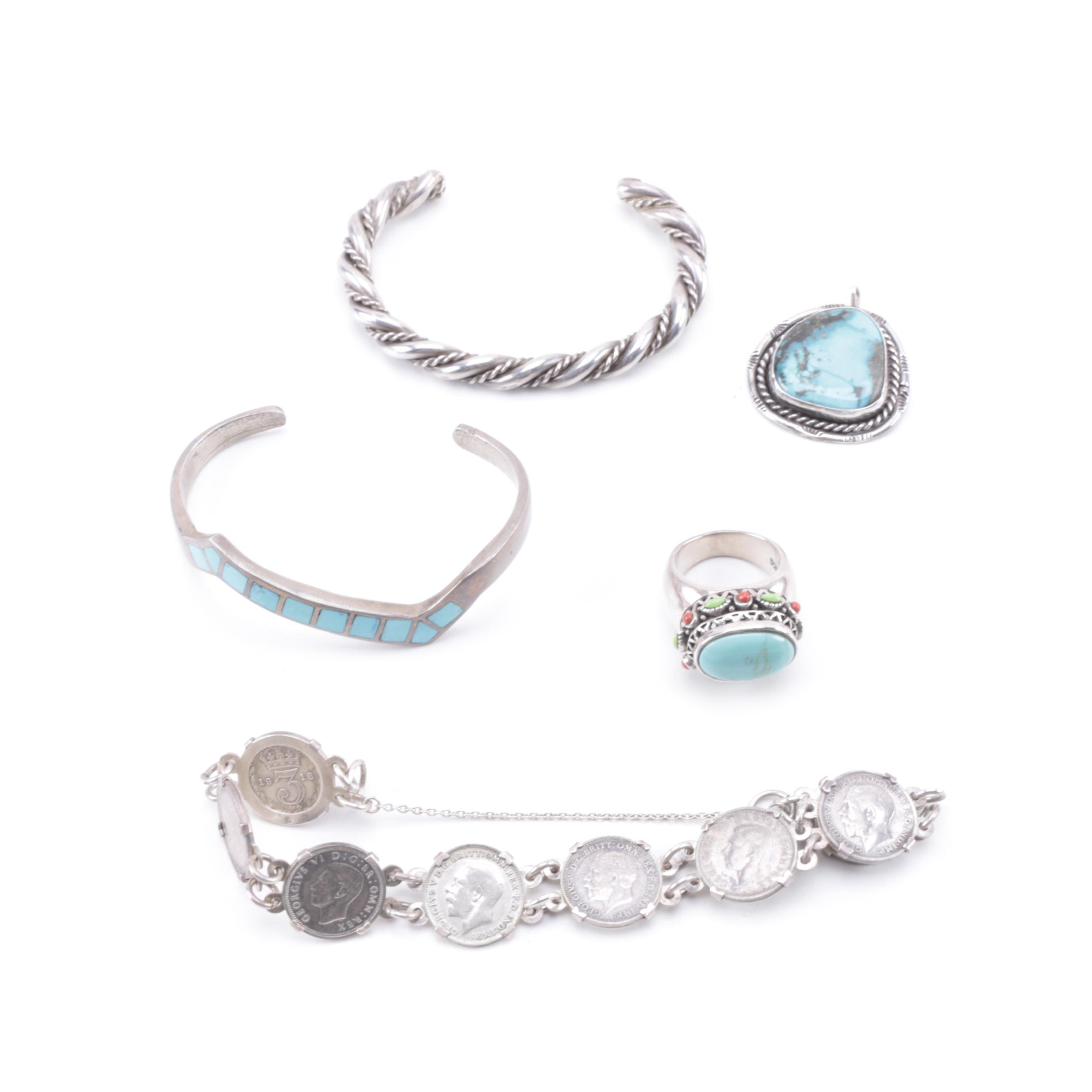 Collection of Sterling Silver Jewelry Featuring Turquoise and More
