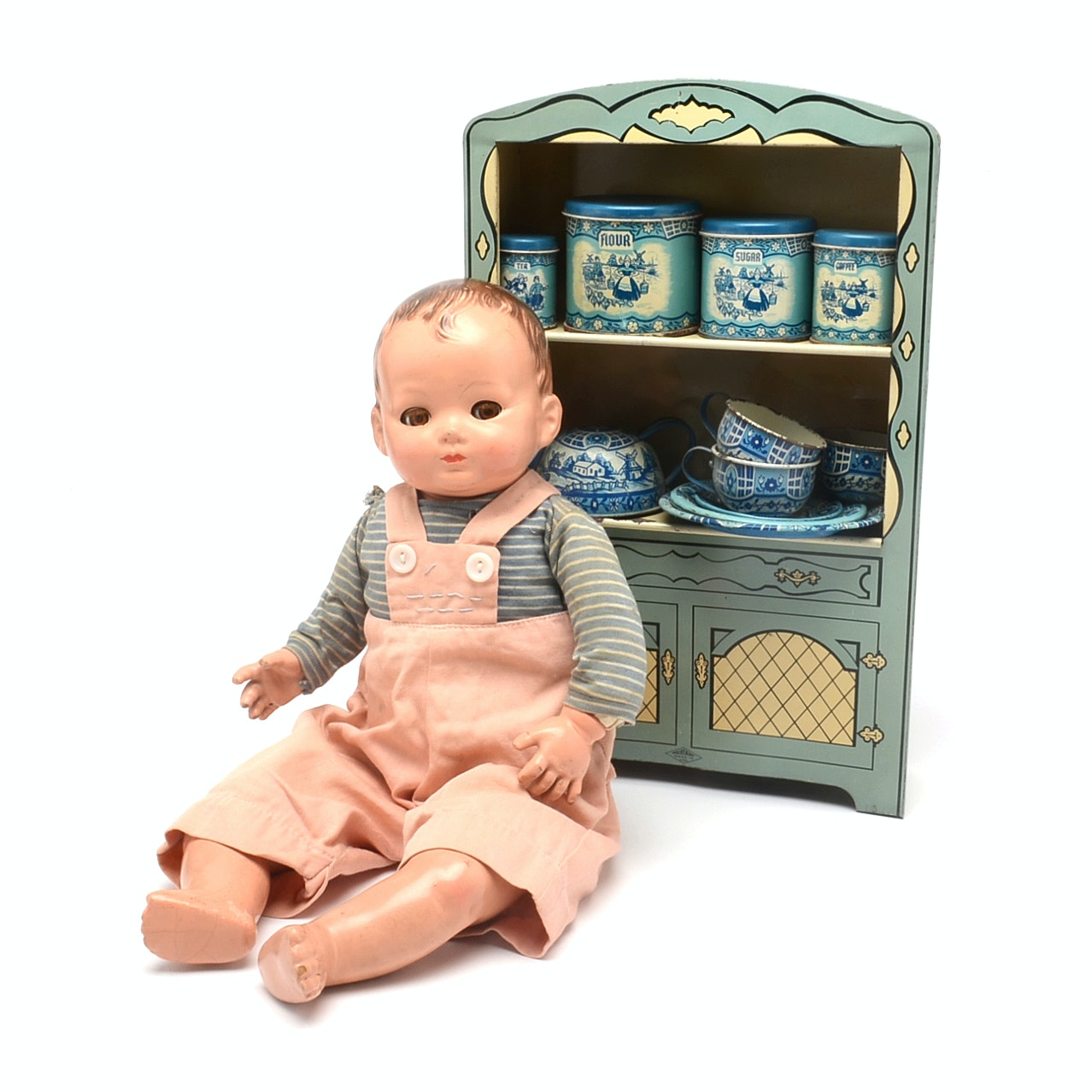 Vintage Doll and Tin Toy Lot