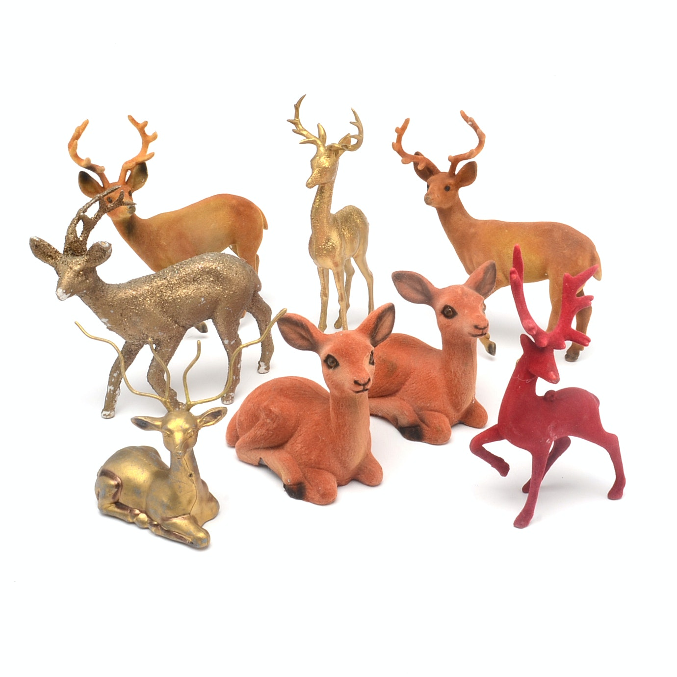 Collection of Vintage Molded Plastic Deer