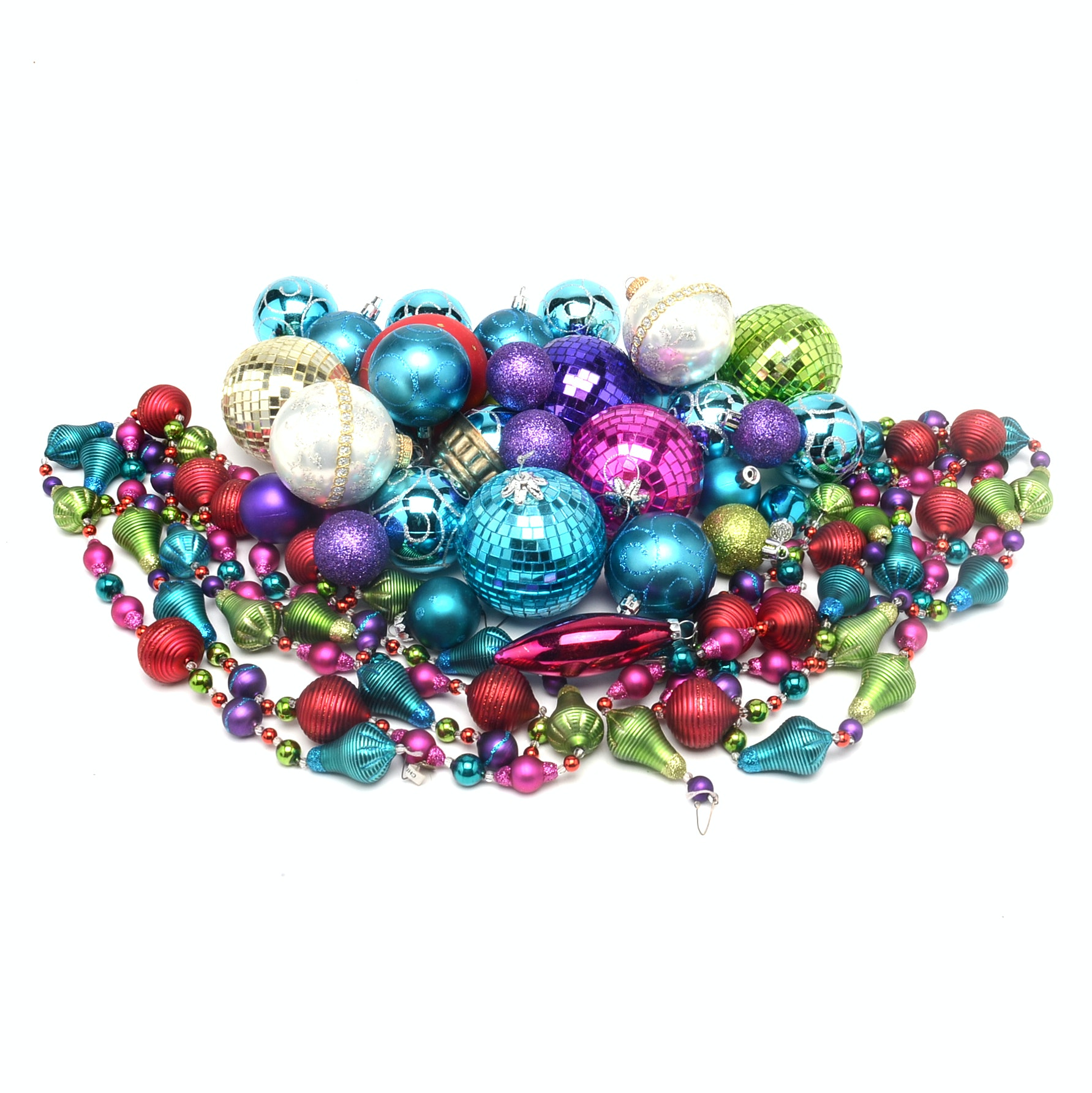 Collection of Contemporary Glass Christmas Ornaments and Garland