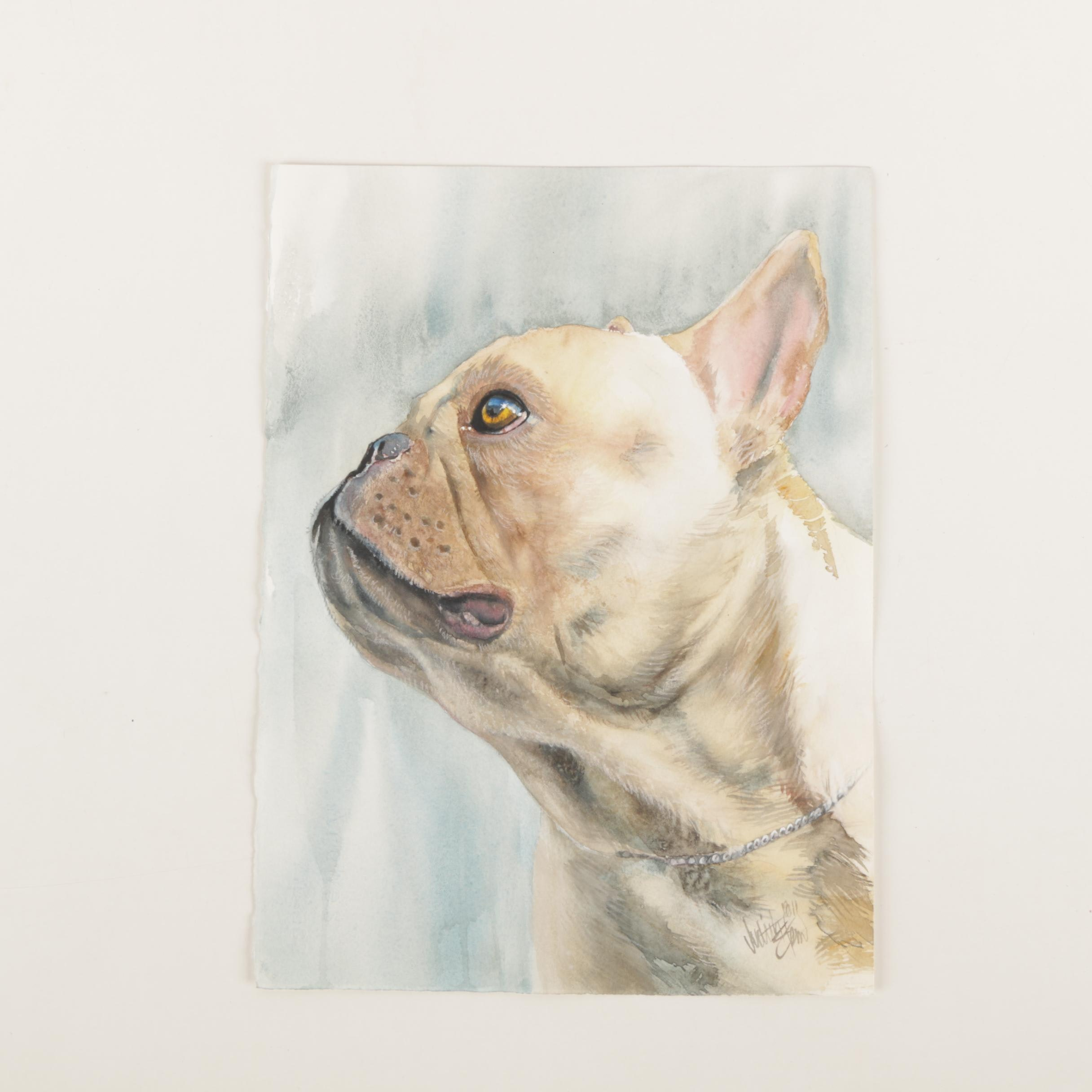 """Judith Stein Watercolor Painting on Paper """"No Biggie"""""""