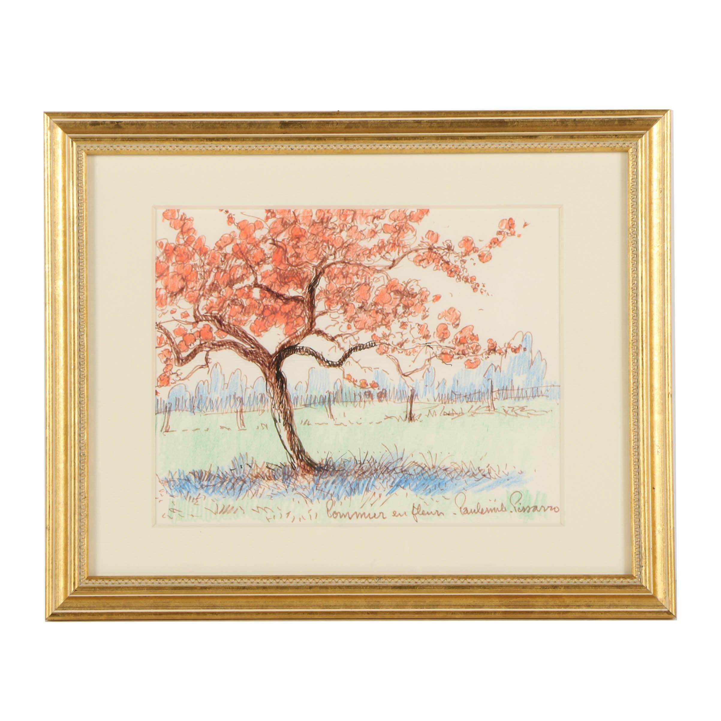"""Paul-Émile Pissarro Colored Pencil Drawing """"Pommier en Fleur"""""""