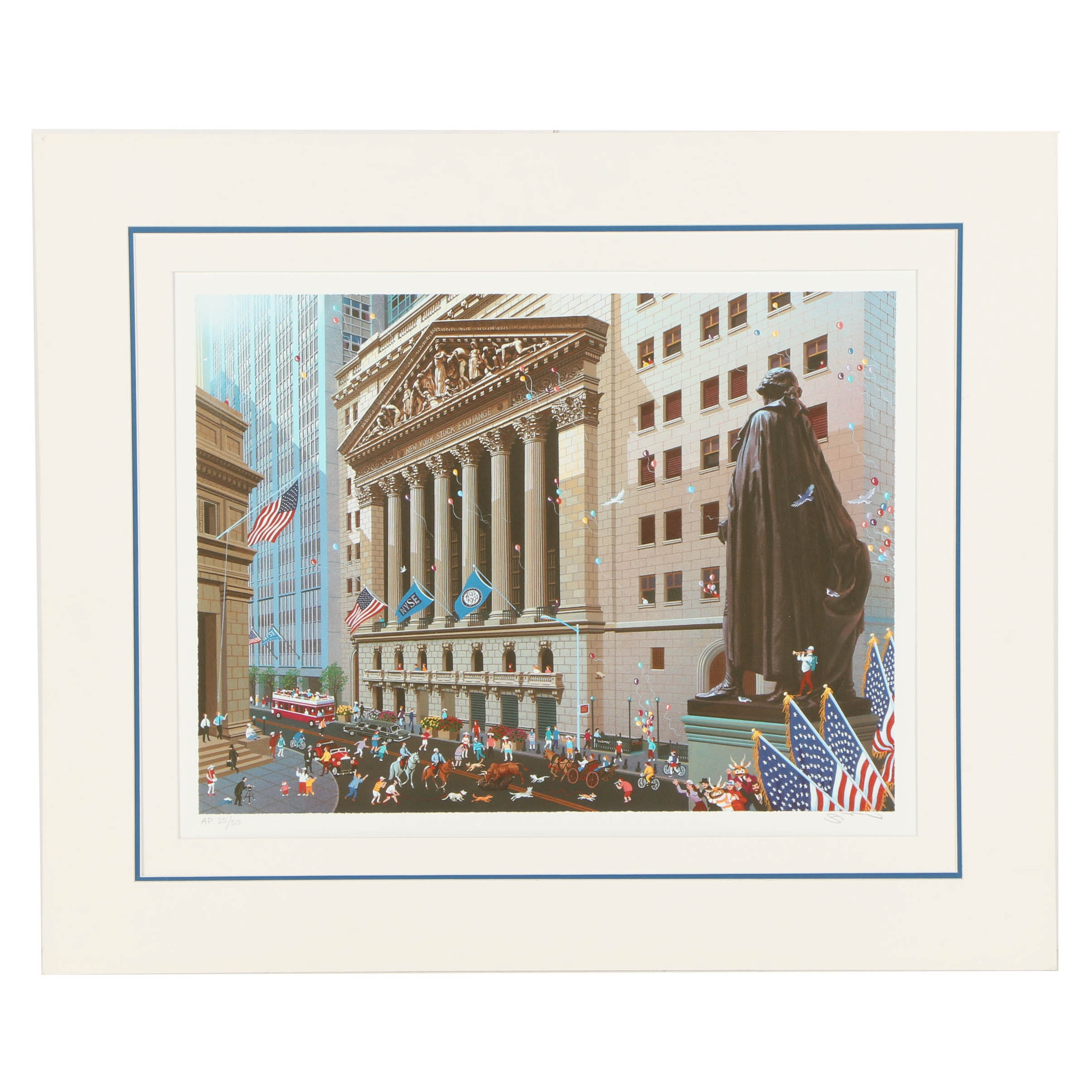 "Alexander Chen Limited Edition Offset Lithograph on Paper ""Wall Street"""