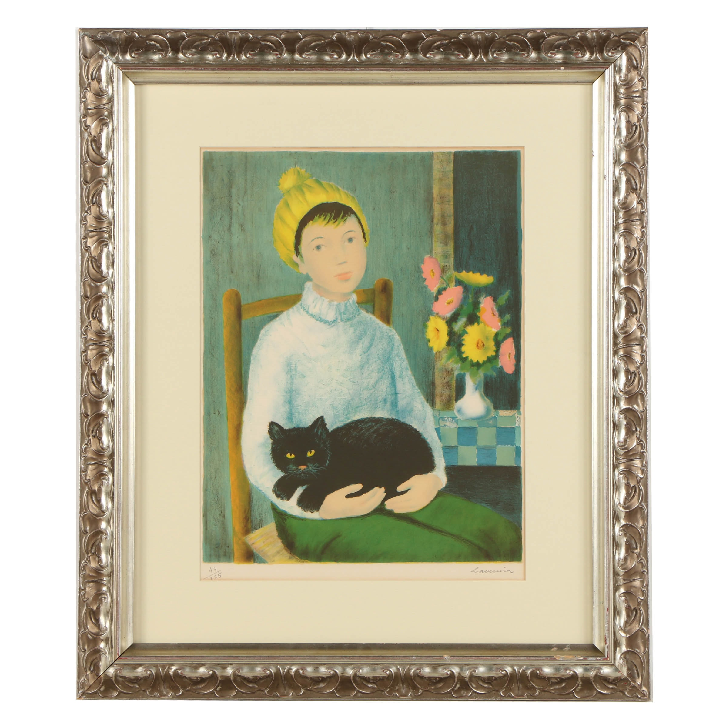 "Angelina Lavernia Limited Edition Lithograph on Paper ""Woman with Cat"""