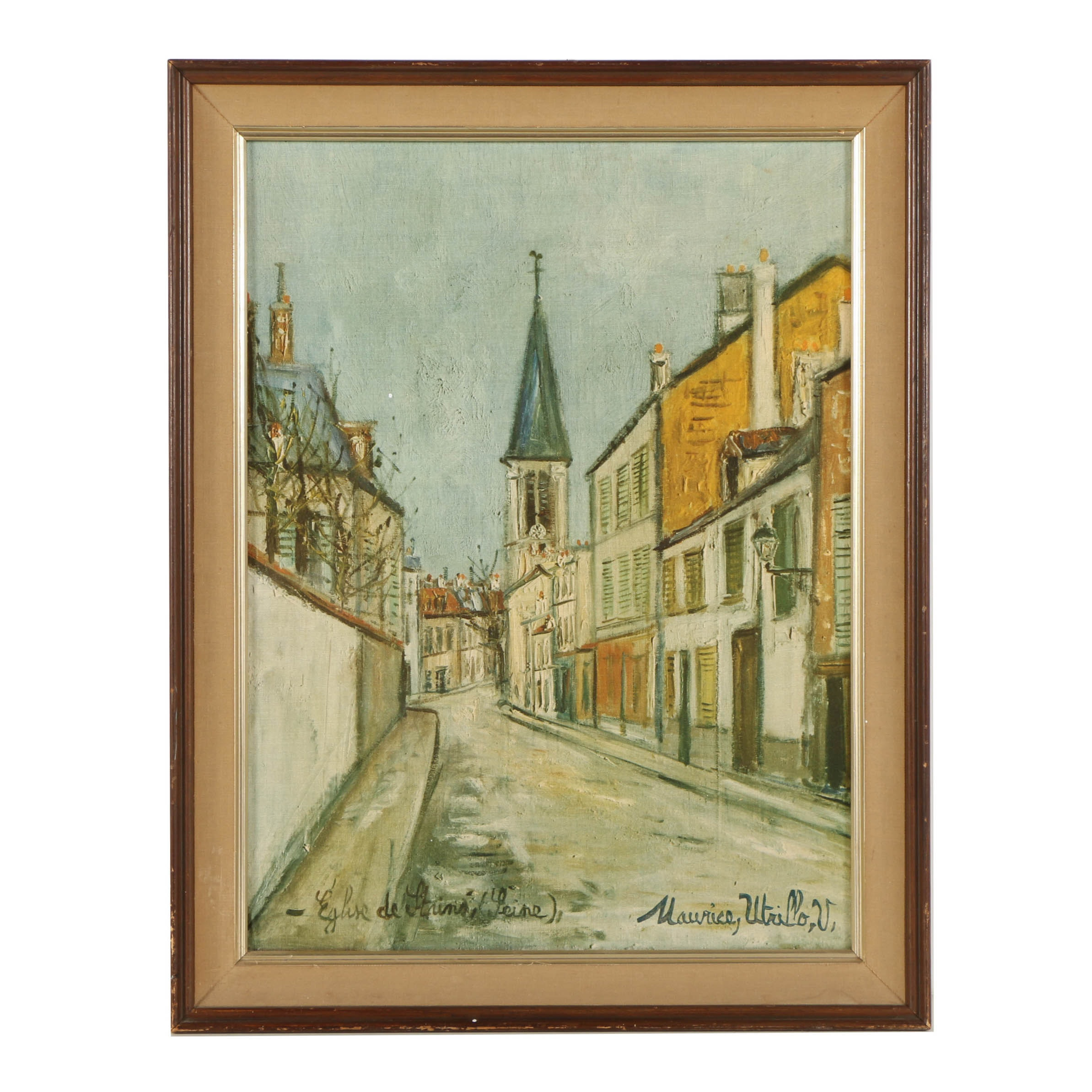 "Offset Lithograph on Canvas Board After Maurice Utrillo ""Eglise de Stains"""