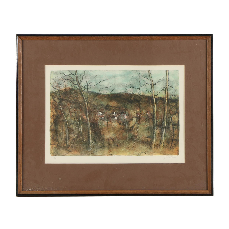 Bernard Gantner Limited Edition Lithograph on Paper of a Forested Landscape