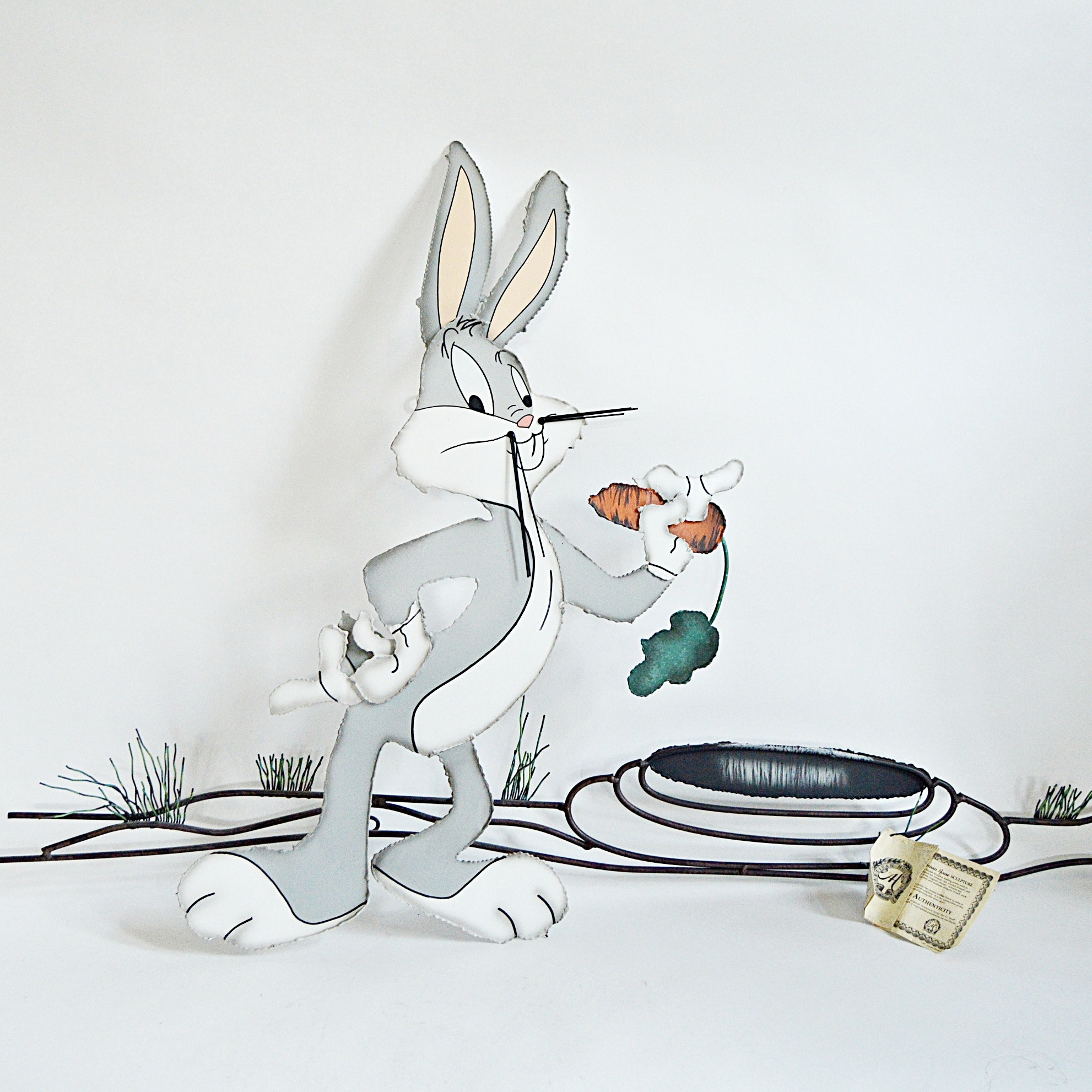 """C. Jere Artisan House """"Bugs Bunny at Home"""" Hand Painted Metal Wall Sculpture"""