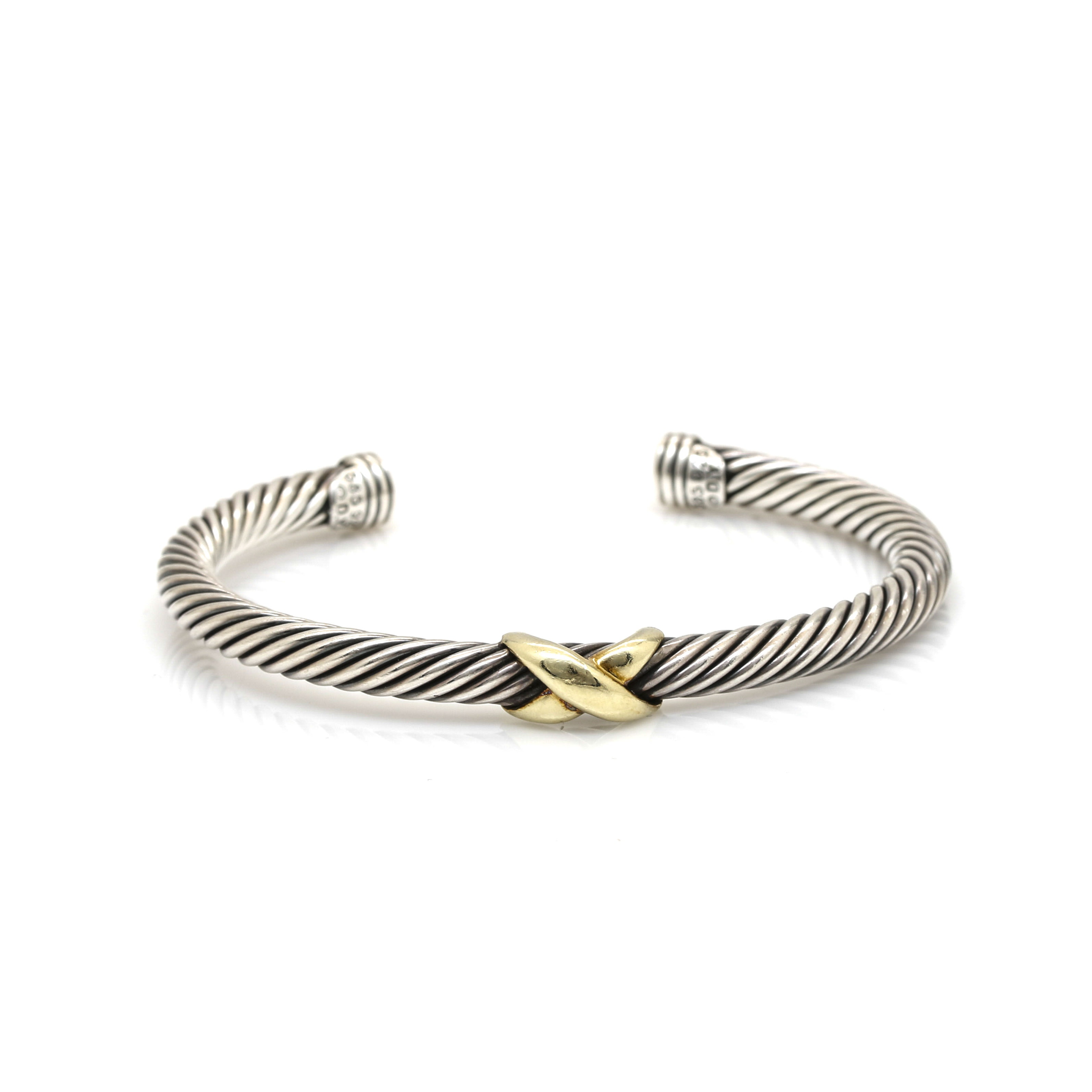 """David Yurman Sterling Silver """"X"""" Station Bracelet with 14K Yellow Gold Accents"""