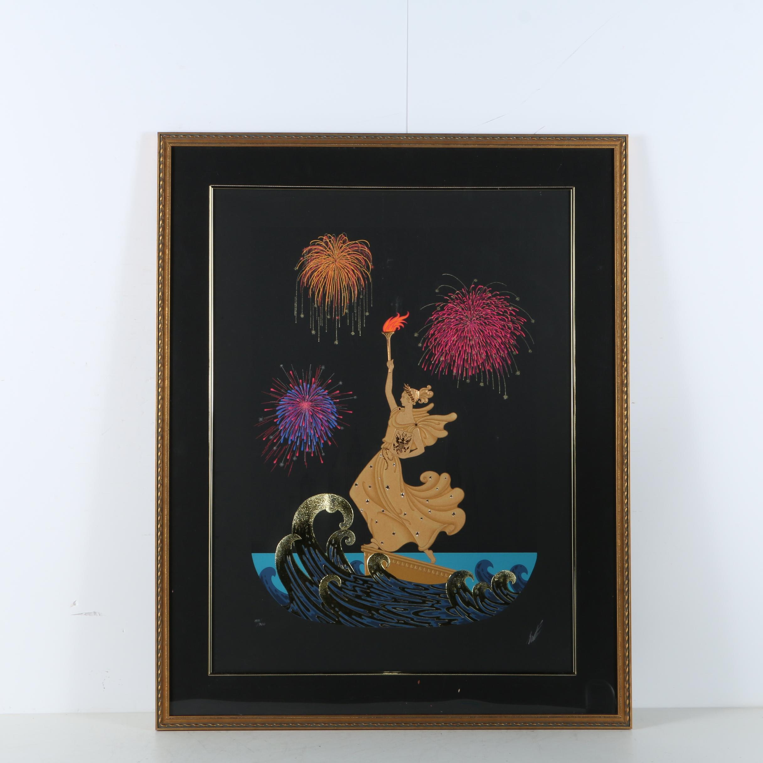 "Erte Limited Edition Serigraph with Foil Stamping ""Statue of Liberty (Night)"""