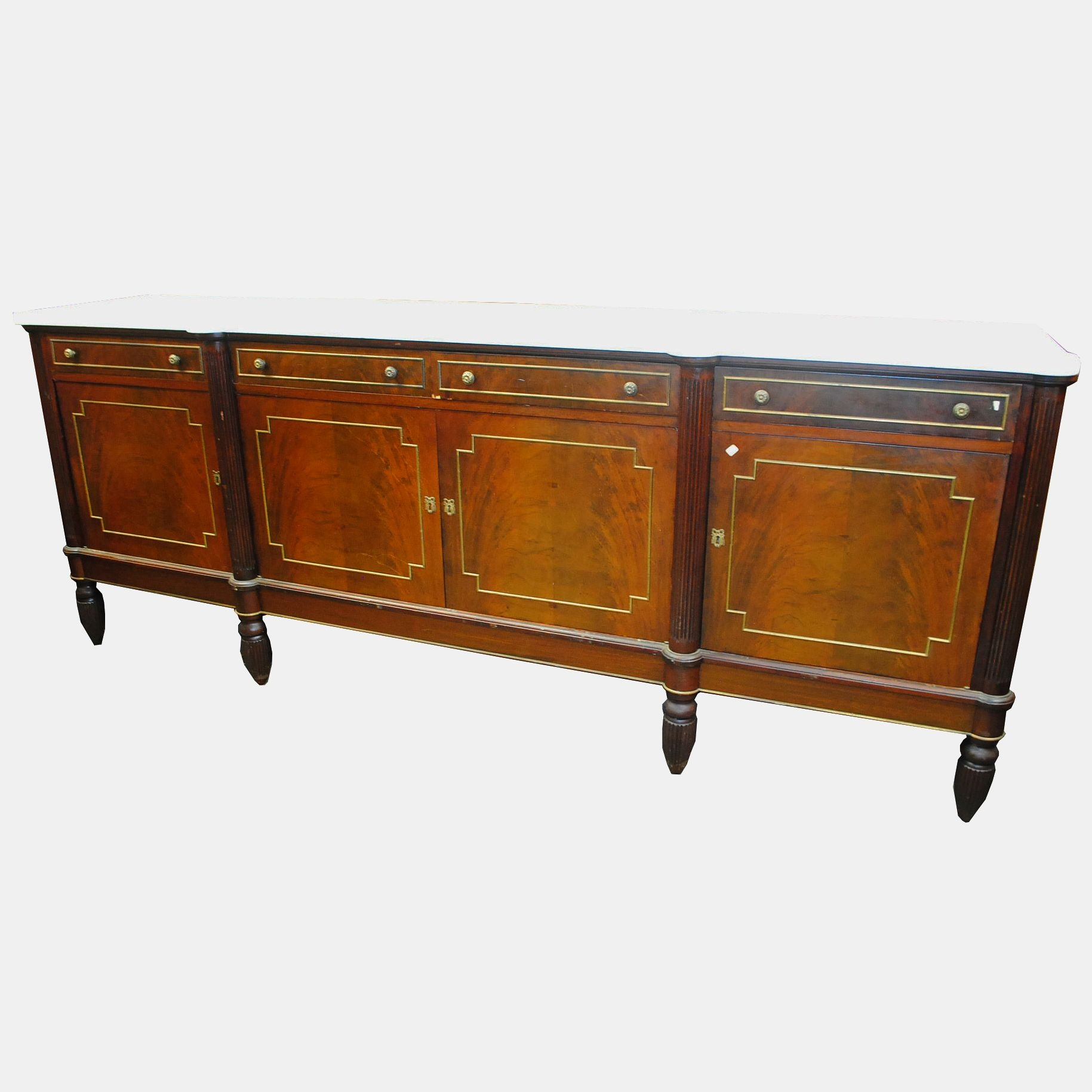 Vintage French Neoclassical Style Mahogany Marble Top Sideboard
