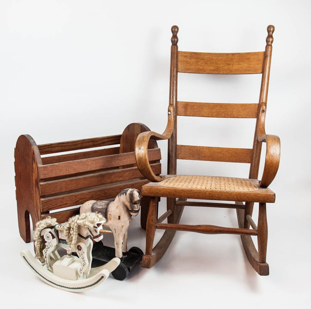 Child's Rocking Chair and Toys