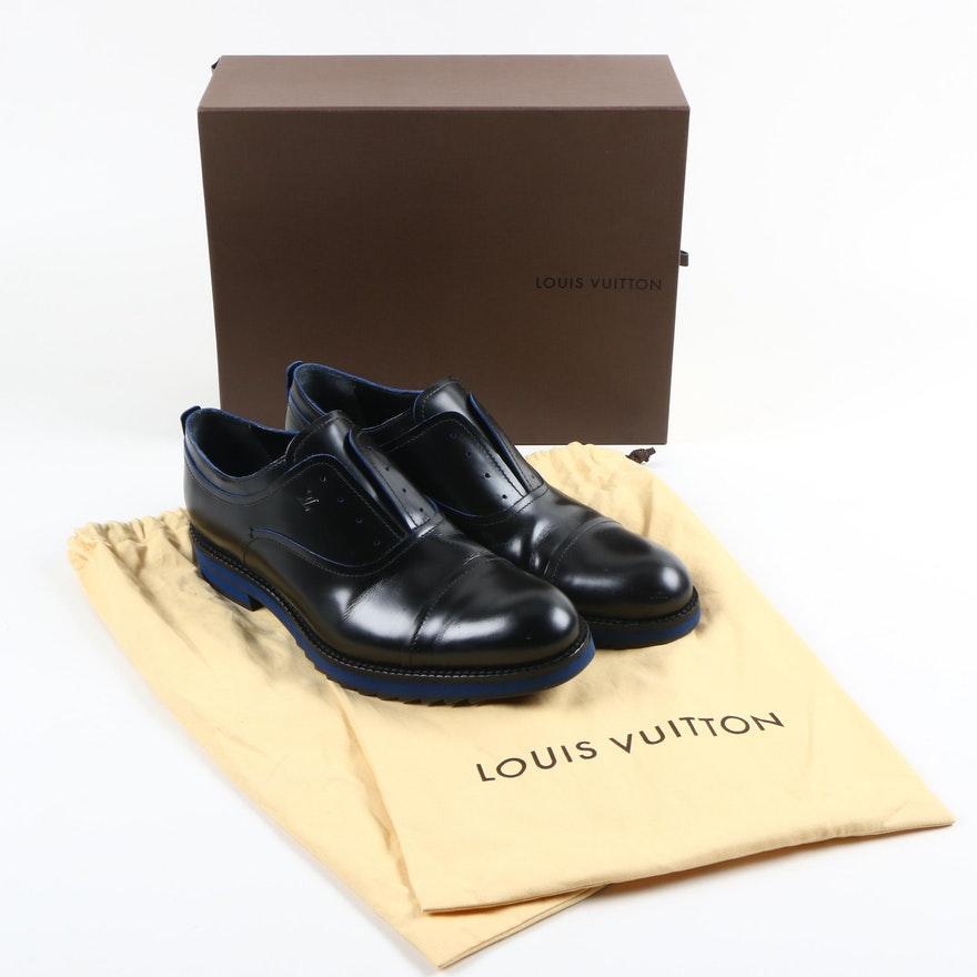03590dd72824 Louis Vuitton Black and Blue Oxford Loafers   EBTH