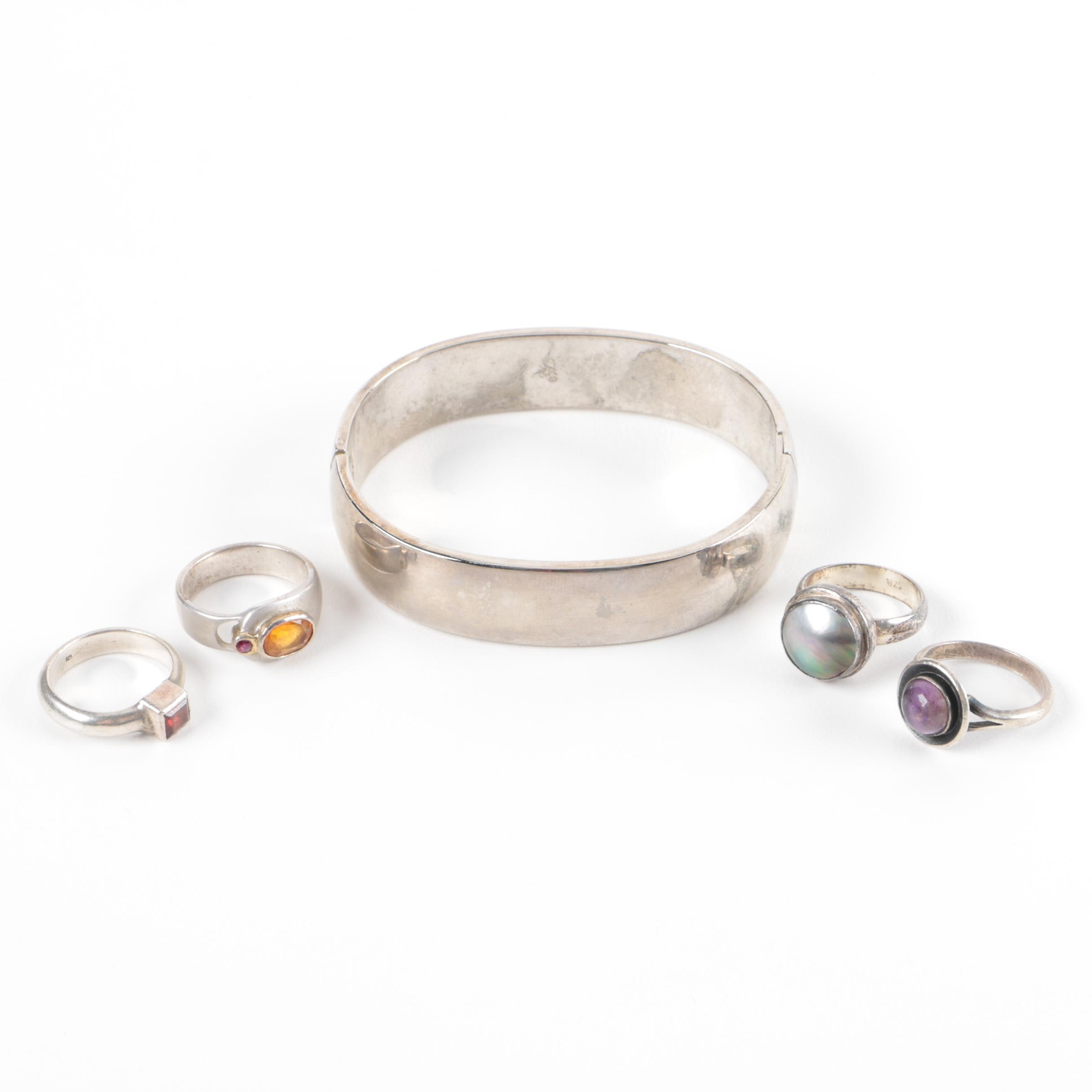 Assortment of Sterling Rings and Bracelet