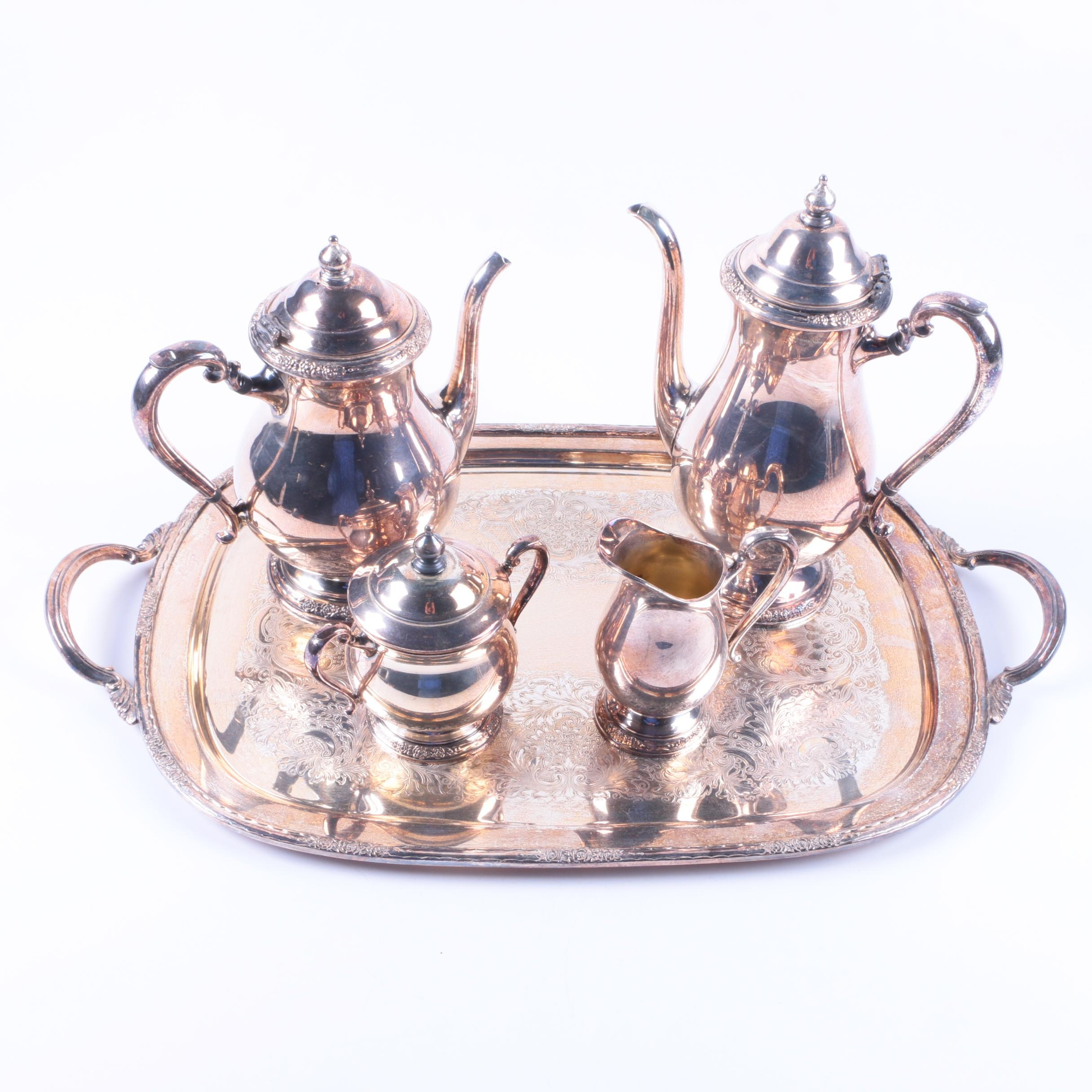 """International Silver Co """"Camille"""" Silver-Plated Coffee and Tea Service"""