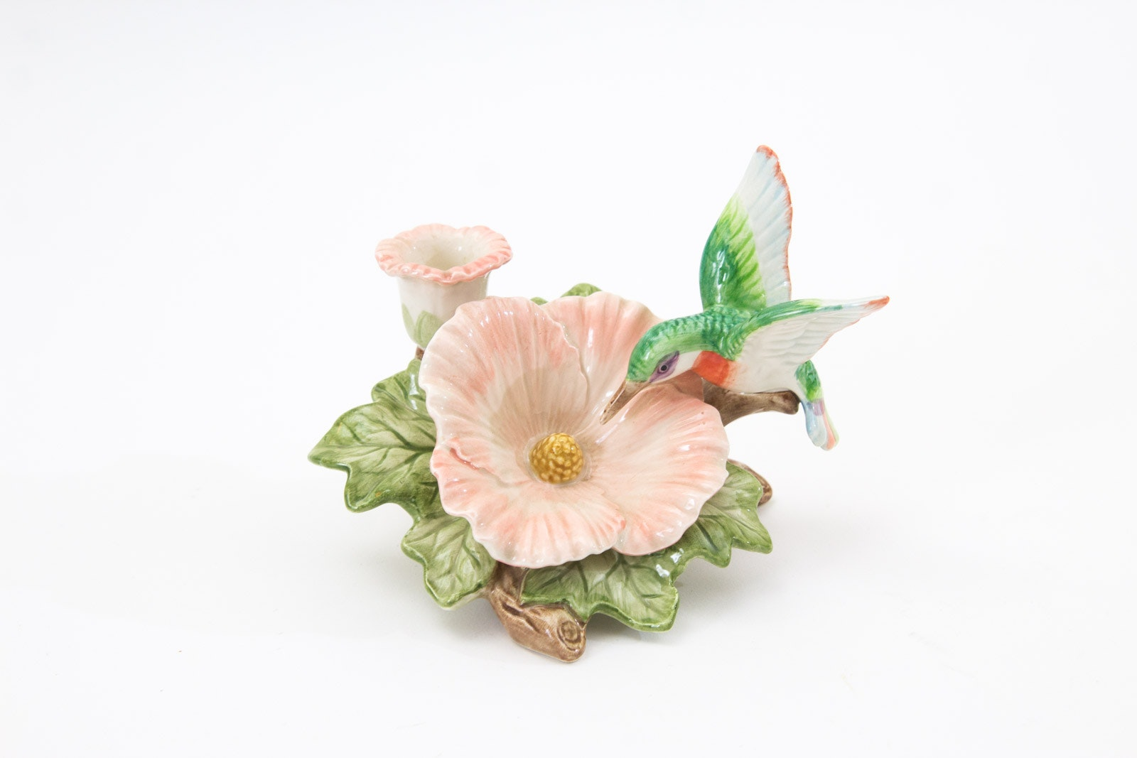 Fitz and Floyd Hummingbird and Hibiscus Candle Holder