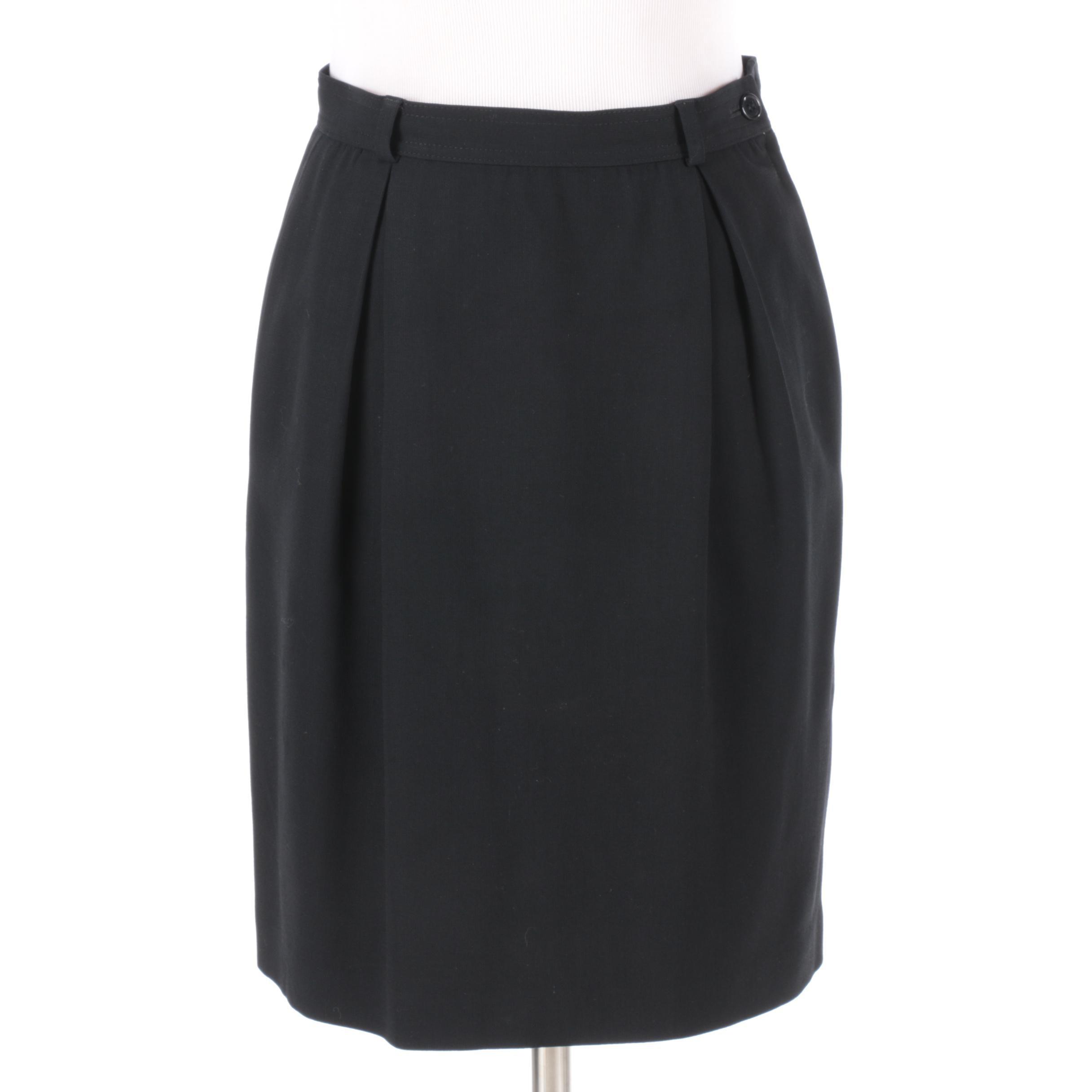 Valentino Miss V Black Woolen Pencil Skirt