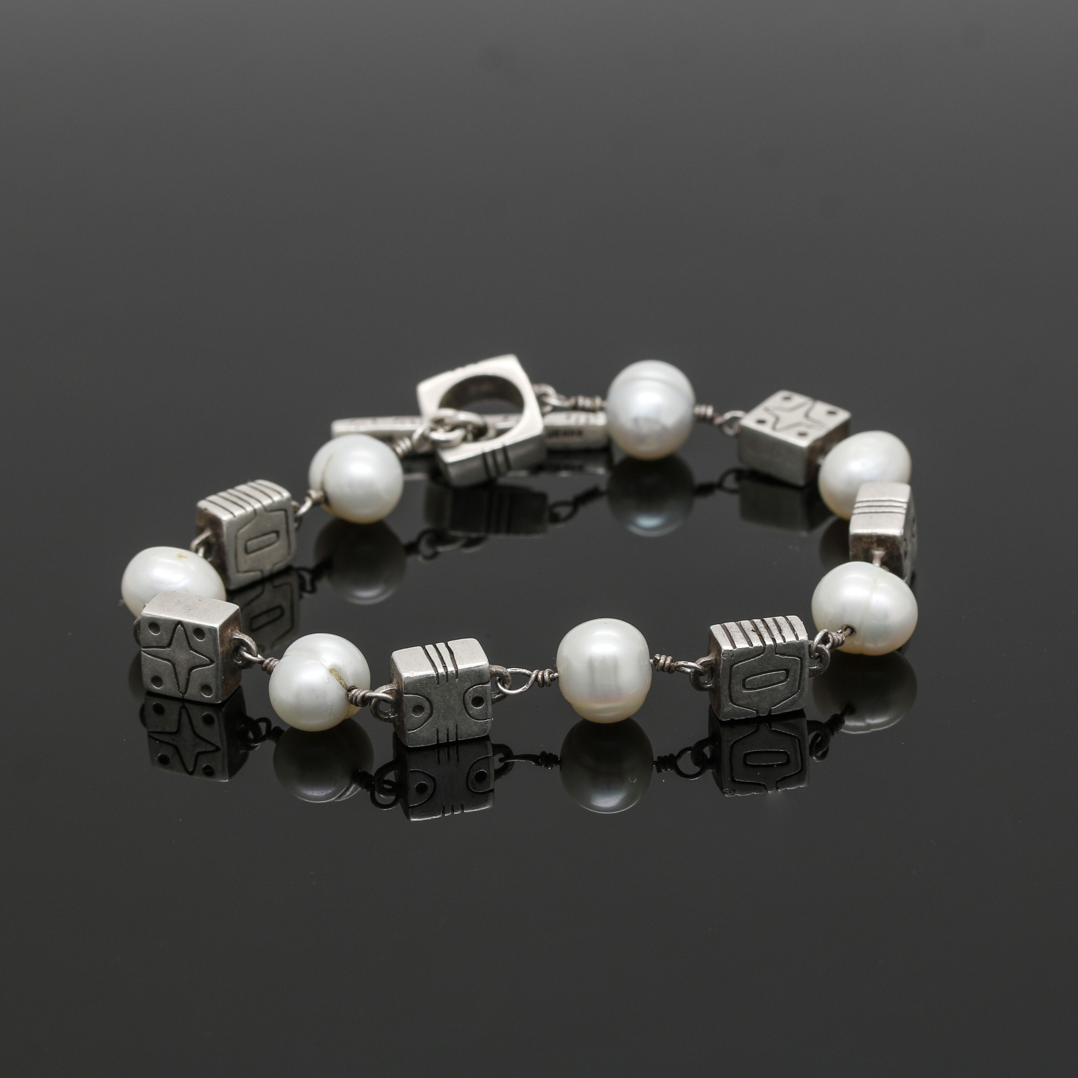 "Lisa Jenks Sterling Silver ""Fox Trot"" Cultured Freshwater Pearl Bracelet"