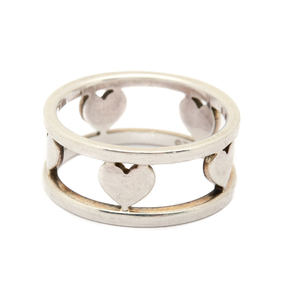 Tiffany & Co. Sterling Silver Five-Heart Ring