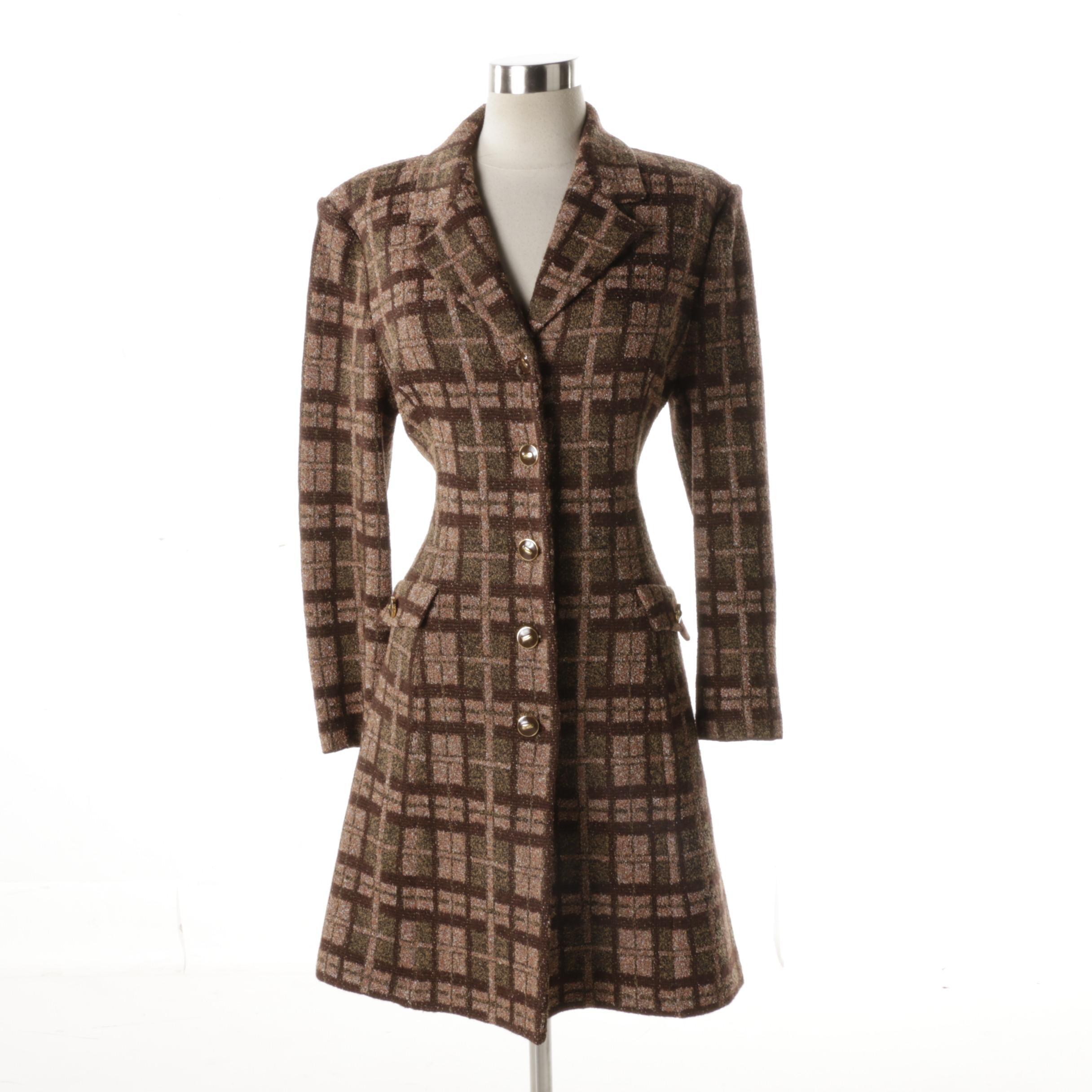 Women's Vintage Marie Gray Plaid Coat with Brown Belt