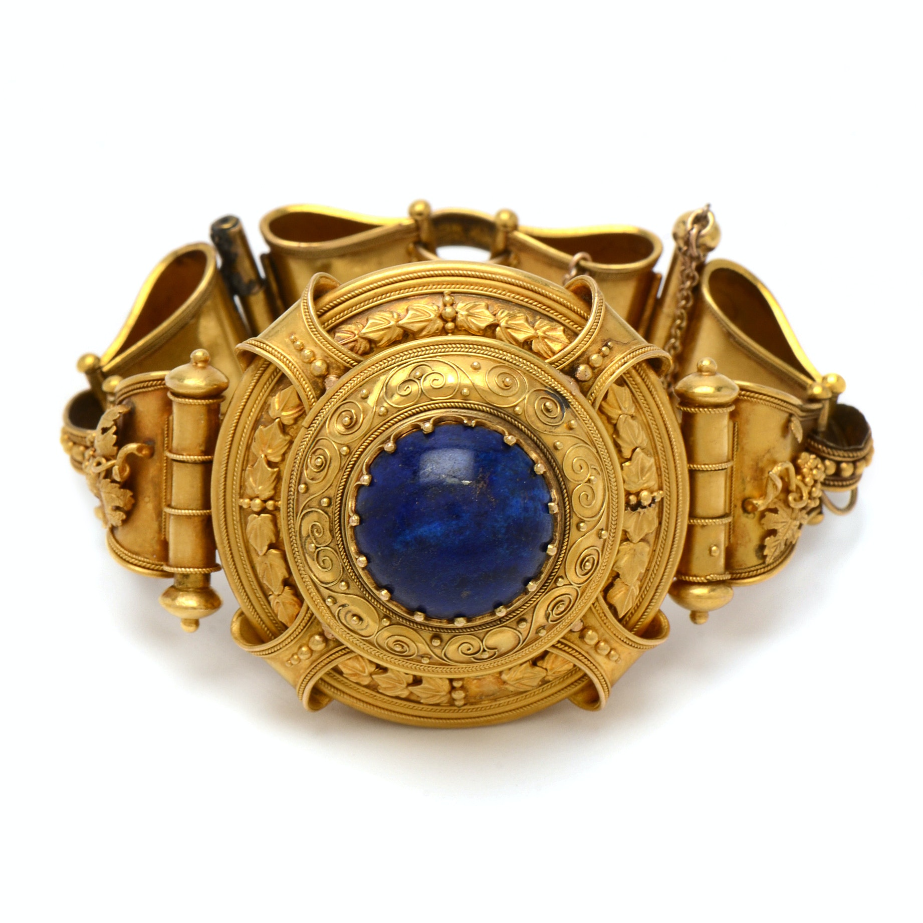 Victorian Etruscan Revival 14K Yellow Gold Lapis Lazuli Wide Bracelet