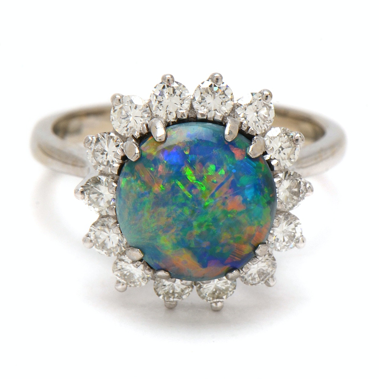 14K White Gold Black Opal and 1.00 CTW Diamond Cocktail Ring