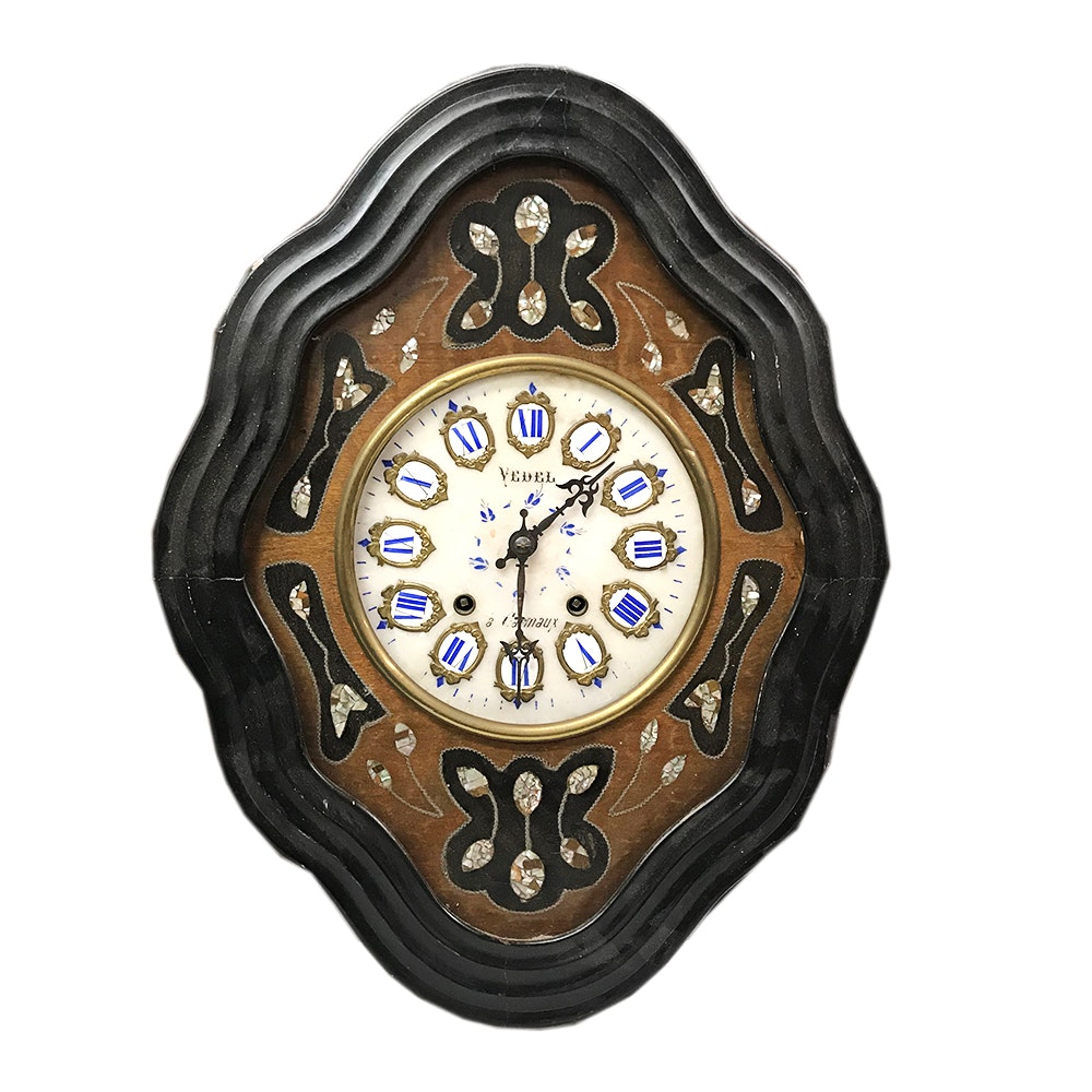 French Porcelain Carmaux Wall Clock