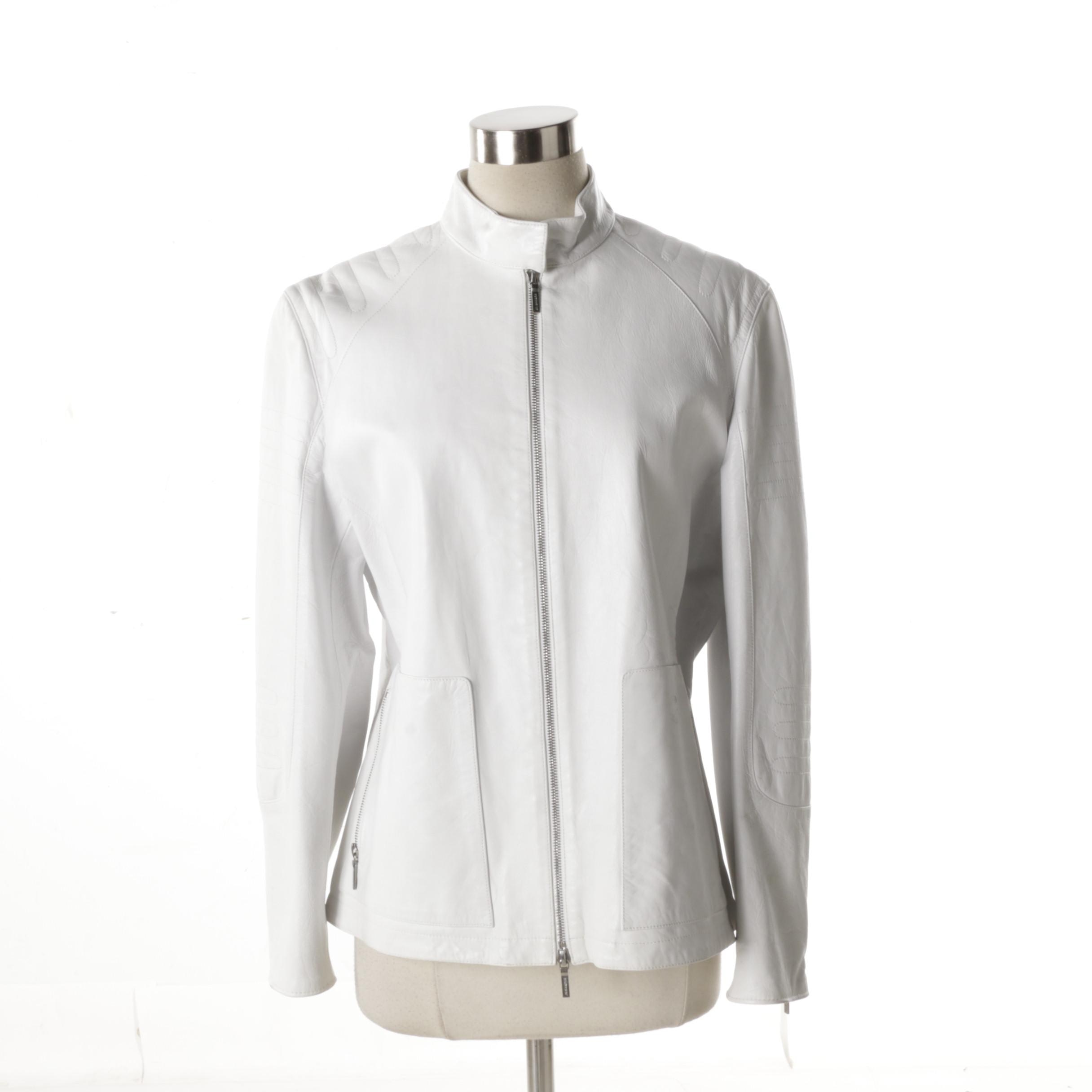 Women's Jil Sander White Leather Jacket