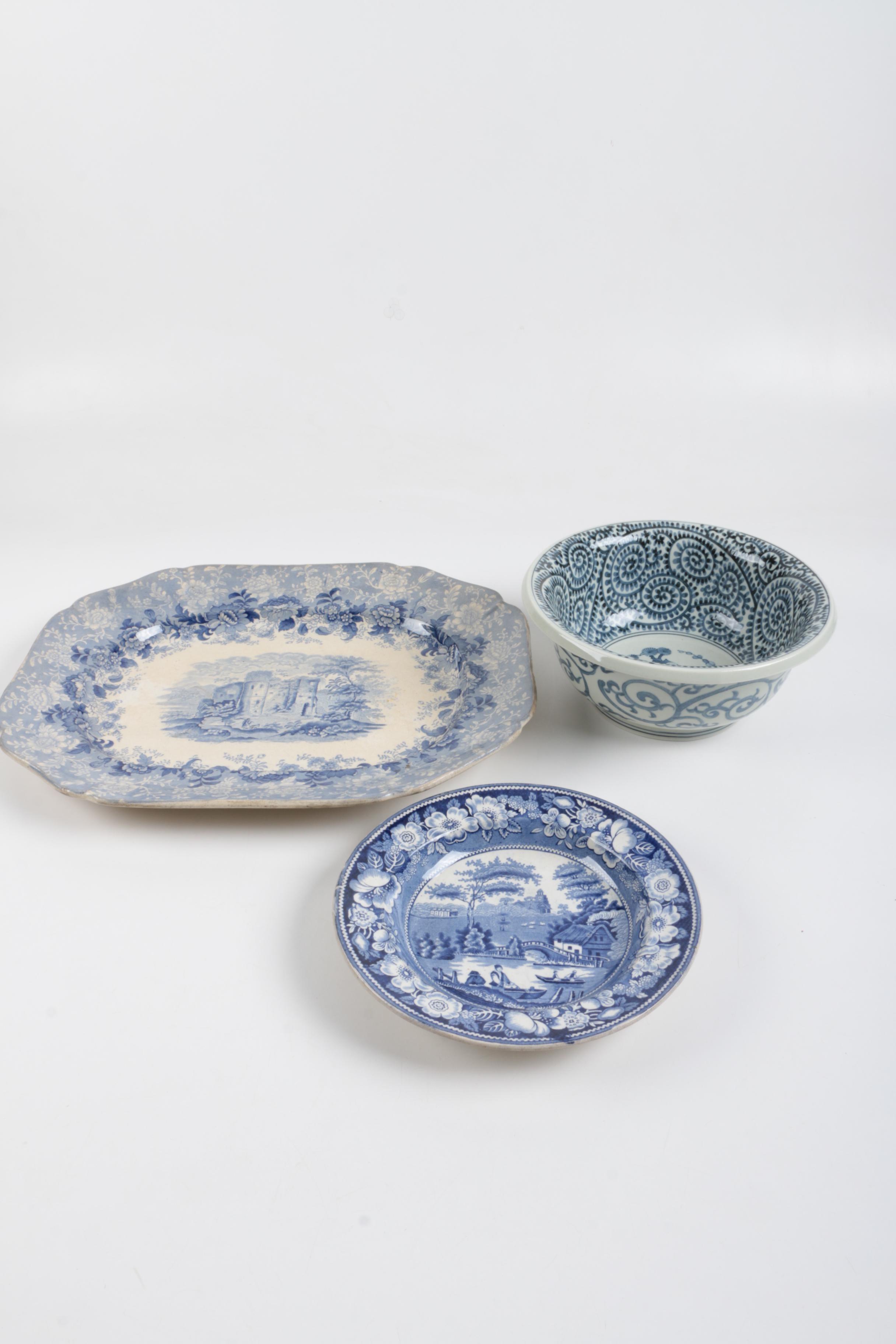 "Antique ""Vignette"" Transfer Printed Platter and  ""Wild Rose"" Bowl"