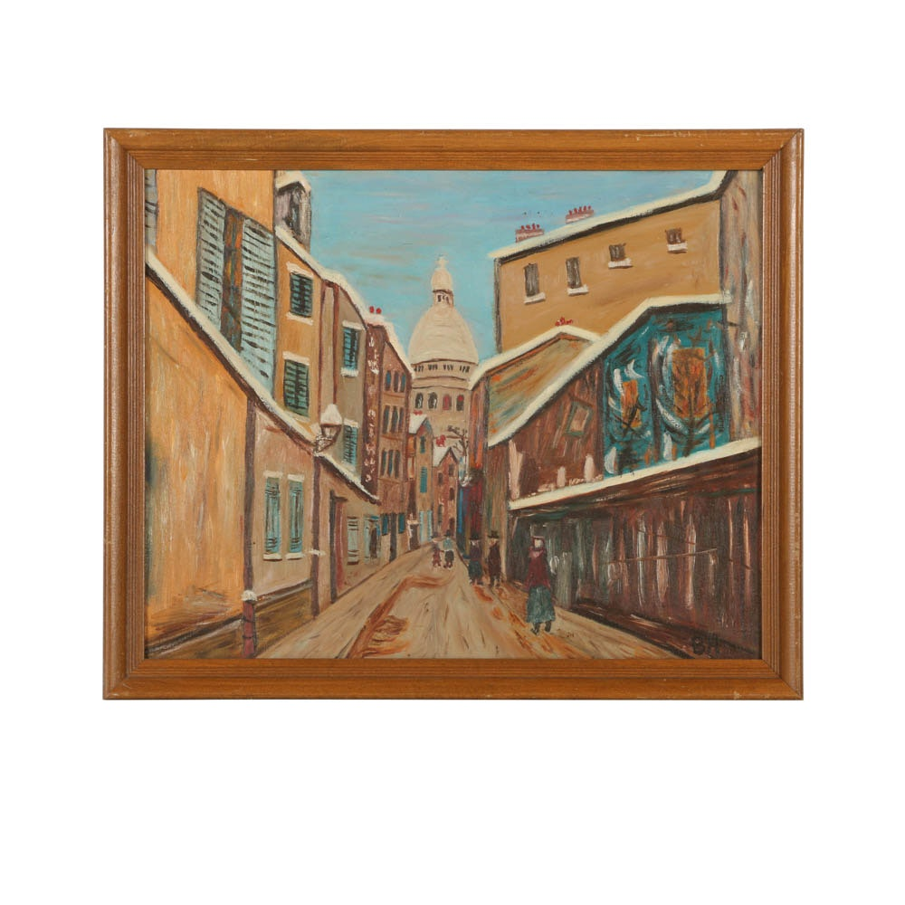 Oil Painting on Panel of City Street