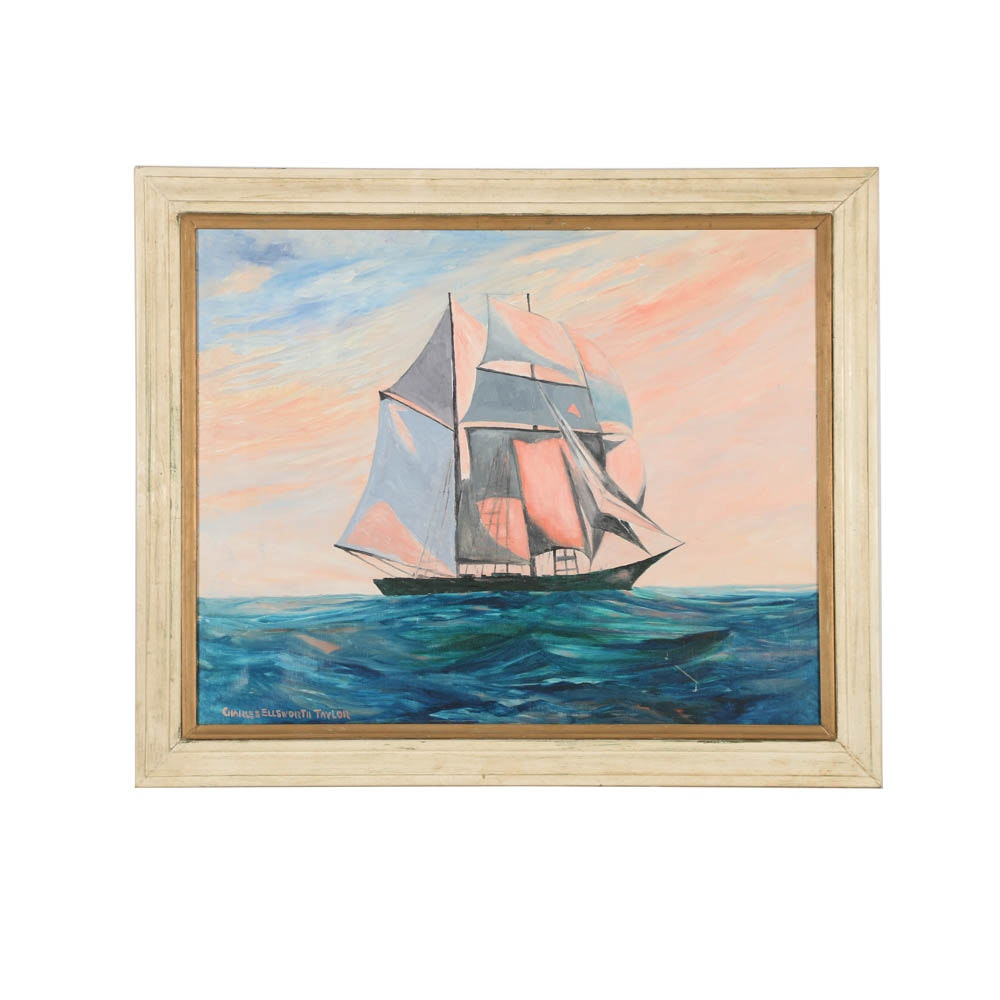 Charles Ellsworth Taylor Oil Painting on Canvas of a Ship