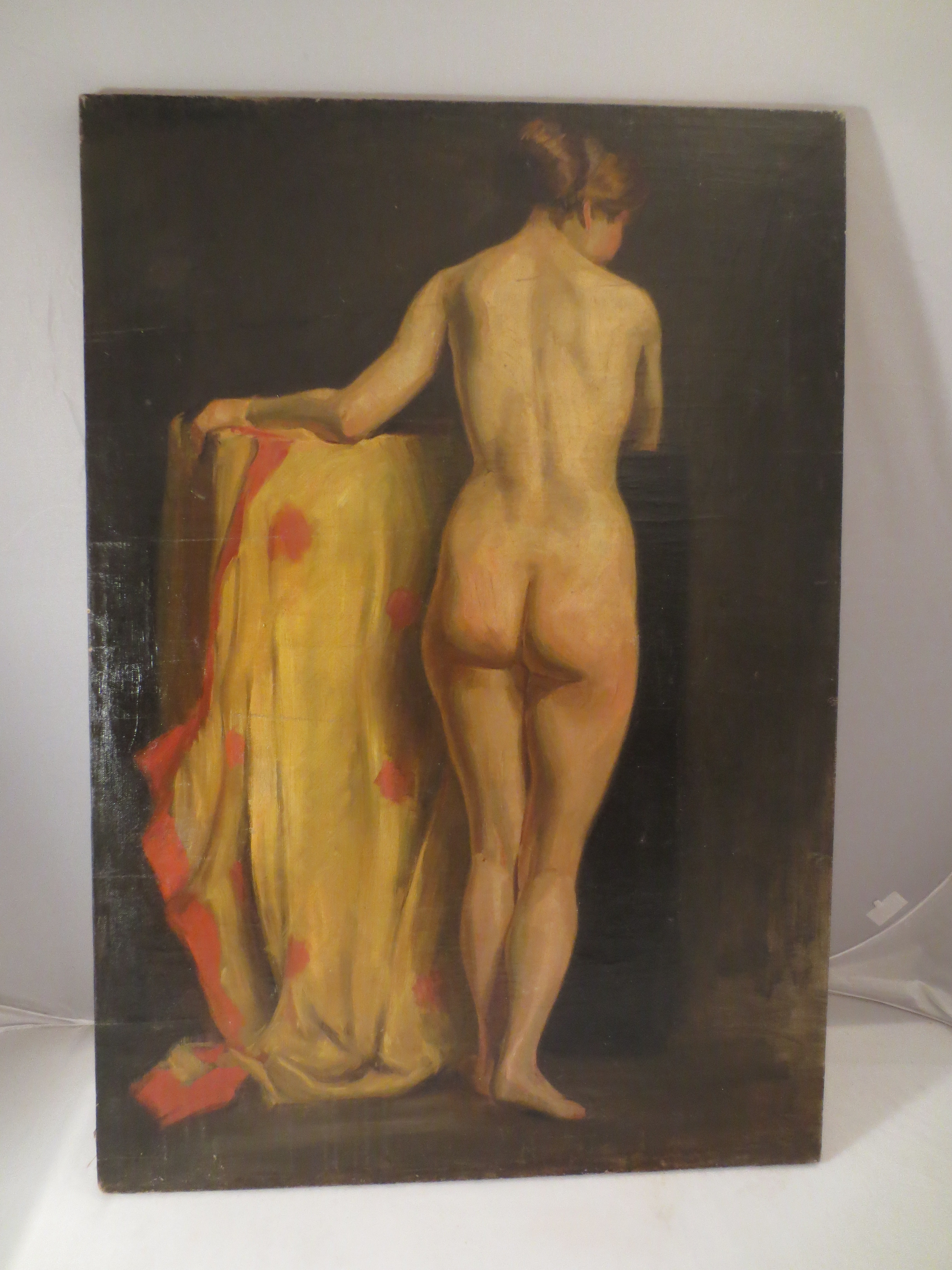 Classical Oil on Canvas with Standing Nude