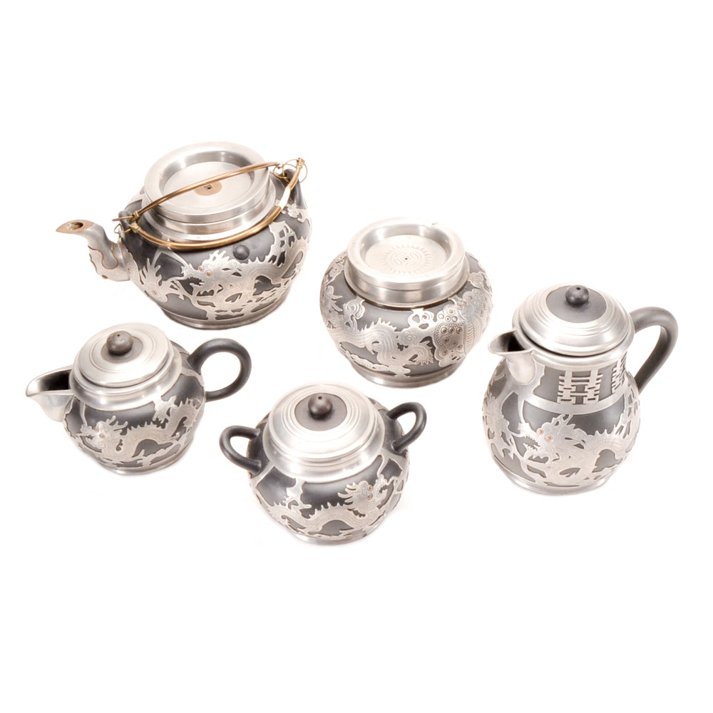 Five Piece Tea Set of Chinese Yixing Pottery