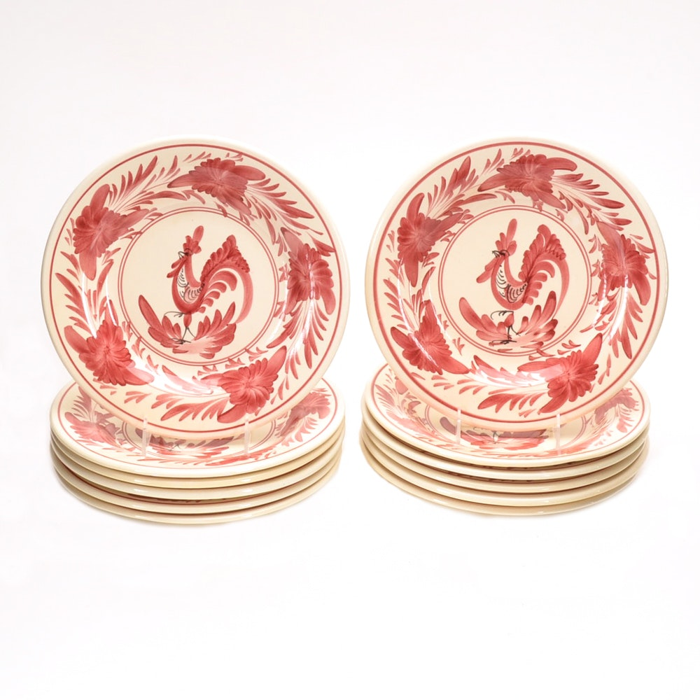 Set of Hand Painted Rooster Plates