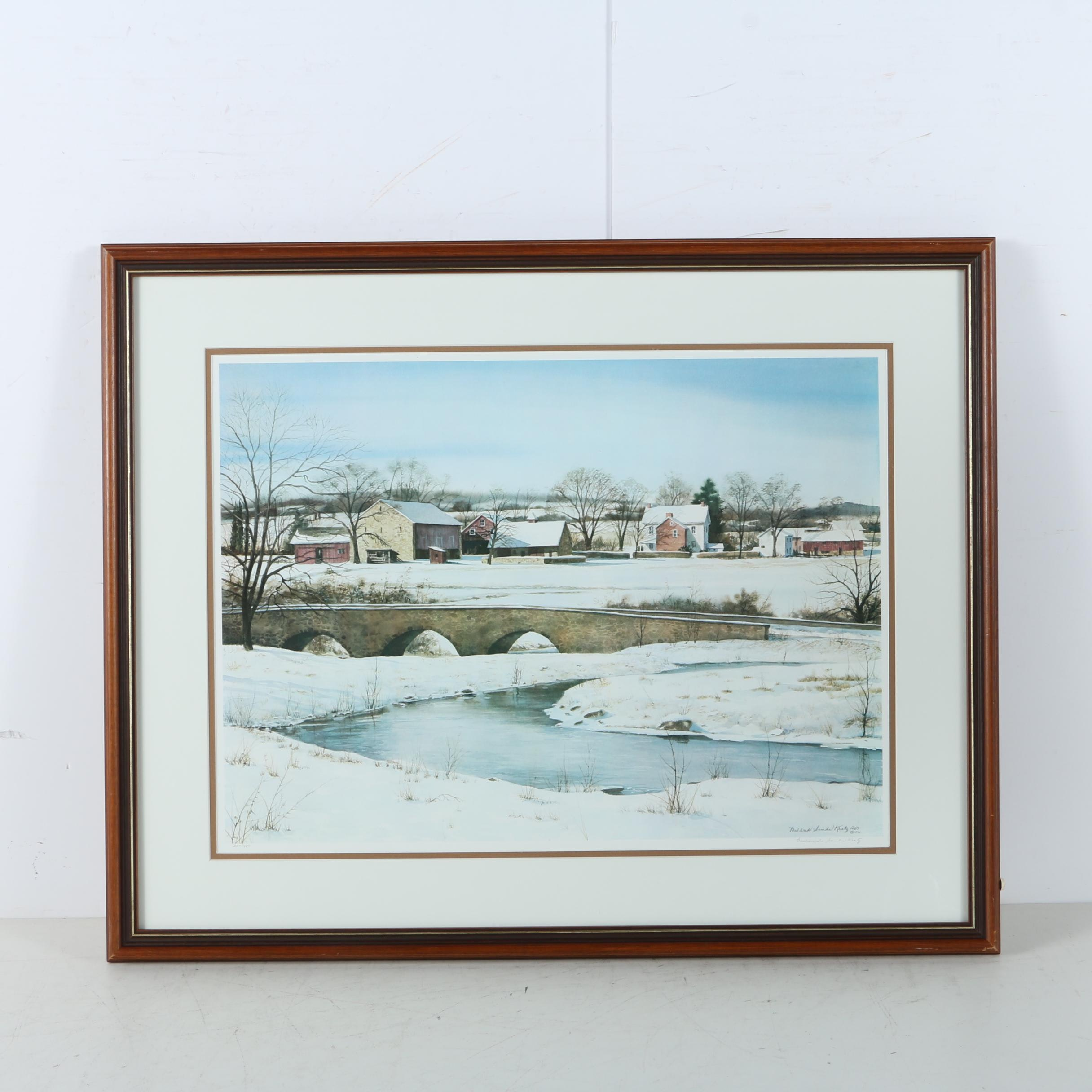 Mildred Sands Kratz Limited Edition Offset Lithograph Winter Scene
